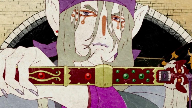 "The ""Medicine Seller"" draws his sword to exorcise a demon in Mononoke."