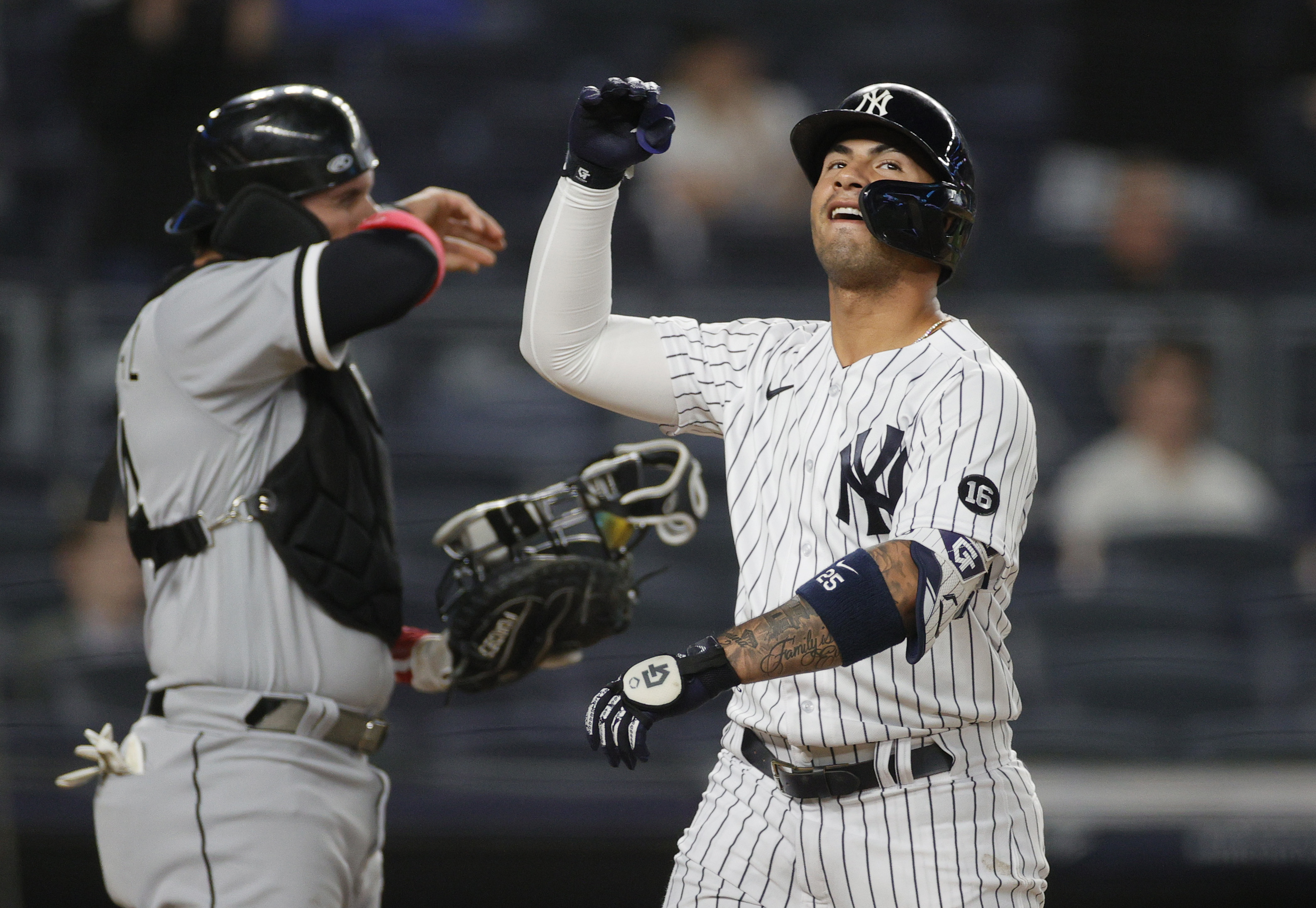 Gleyber Torres #25 of the New York Yankees reacts after hitting a home run during the seventh inning against the Chicago White Sox at Yankee Stadium on May 21, 2021 in the Bronx borough of New York City.