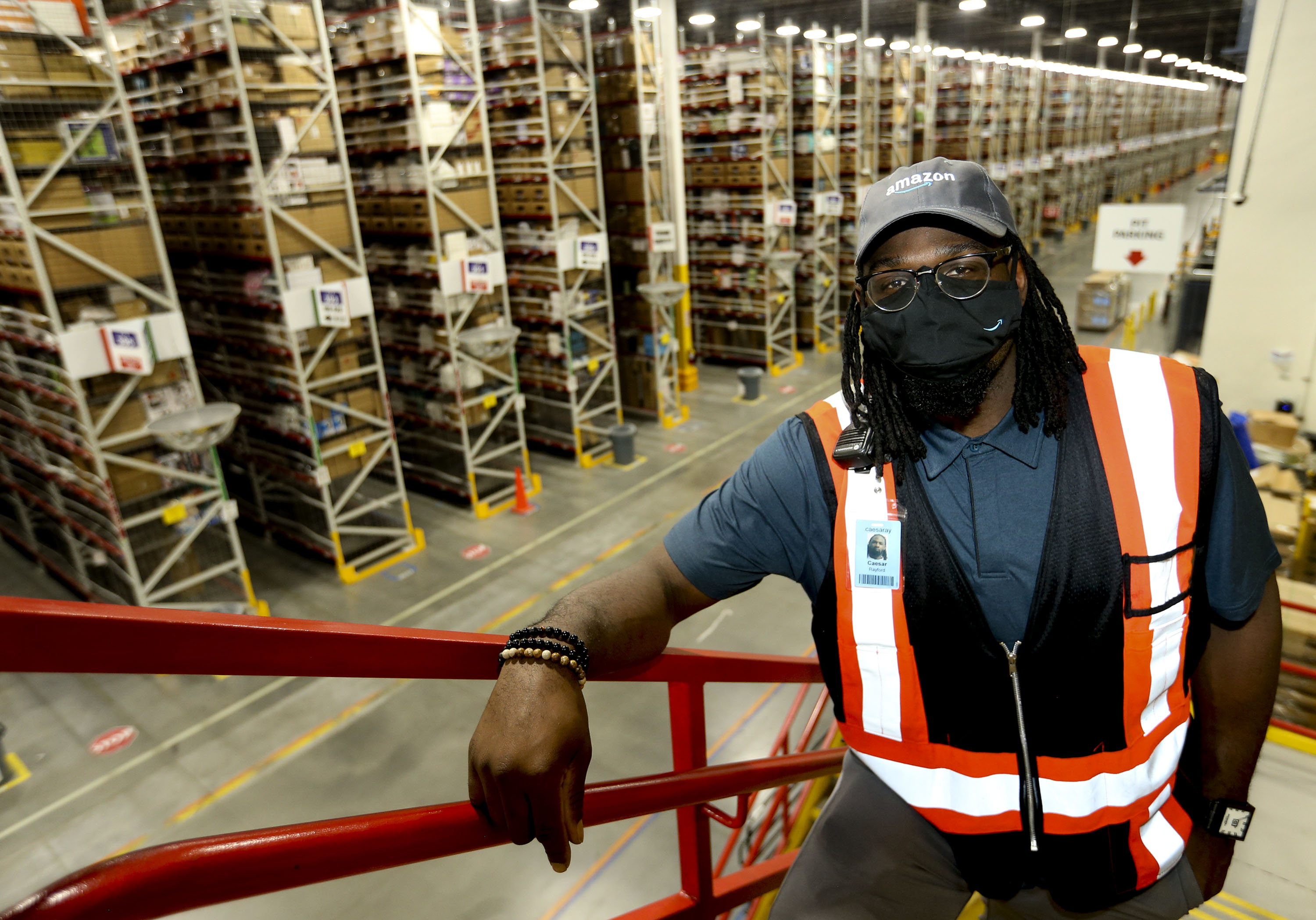 Caesar Rayford is photographed at the Amazon fulfillment center in South Jordan on Thursday, May 20, 2021.