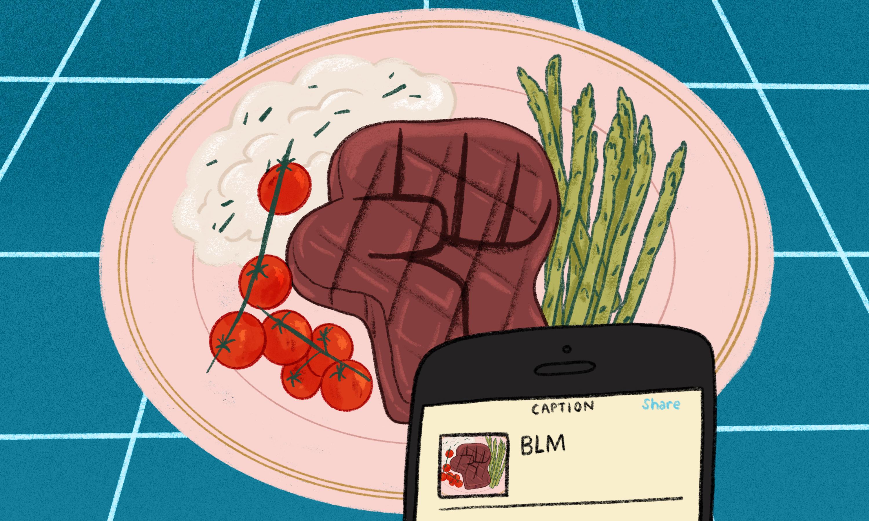 """盘子上的牛排图案;牛排是""""黑人权力""""拳头的形状。"""