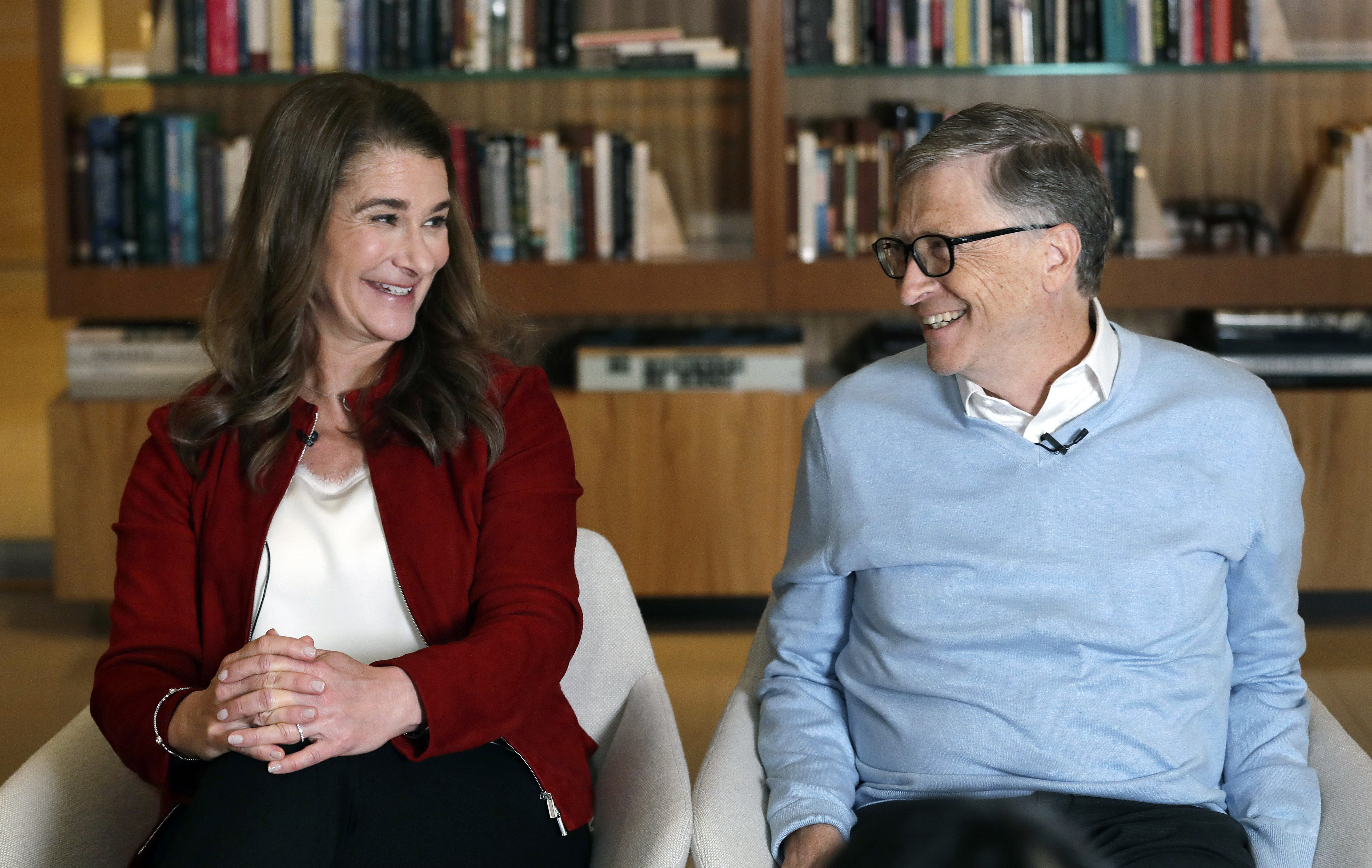 Bill and Melinda Gates smile at each other during an interview in Kirkland, Wash.