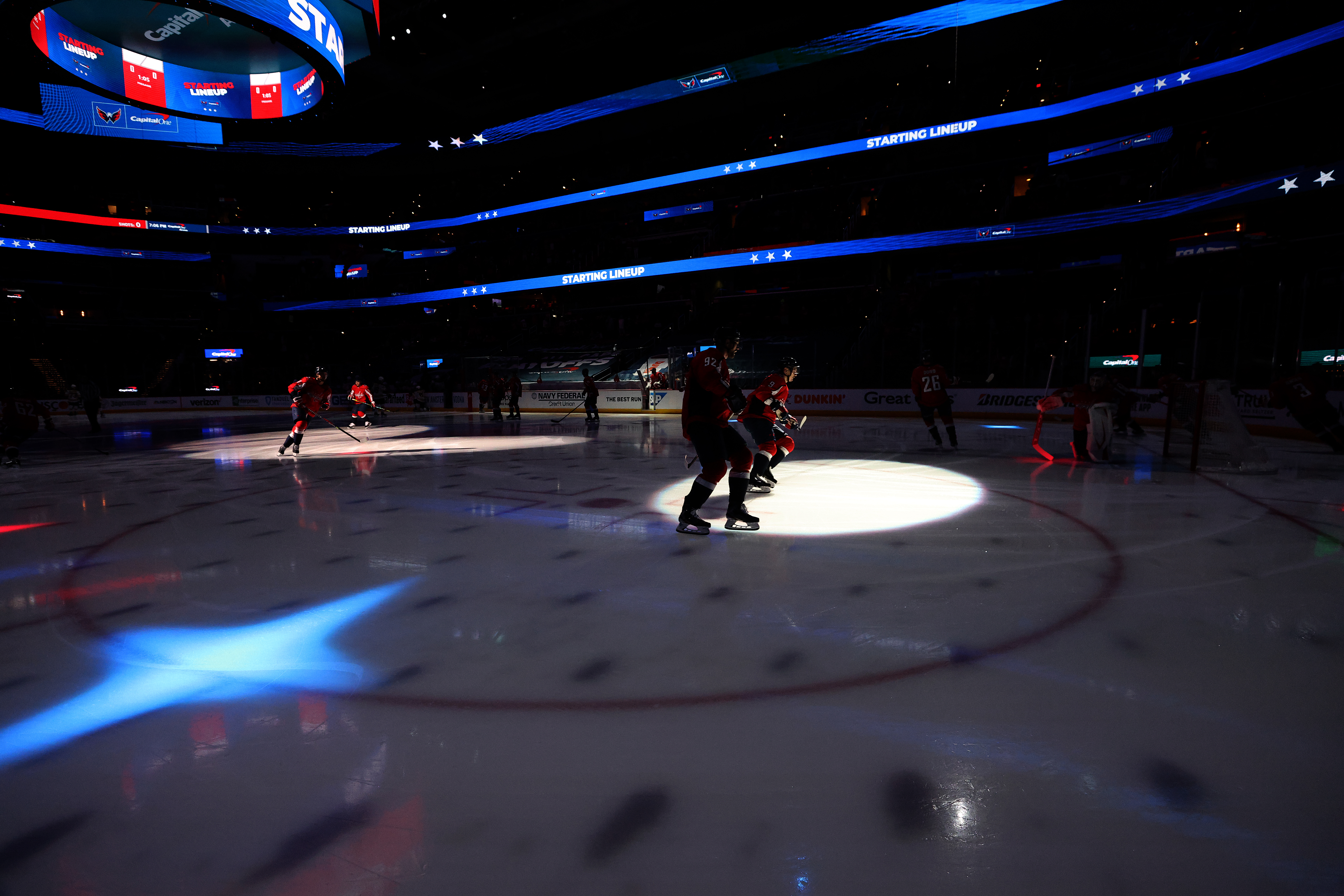 The Washington Capitals warm up before Game Five of the 2021 Stanley Cup Playoffs against the Boston Bruins at Capital One Arena on May 23, 2021 in Washington, DC.