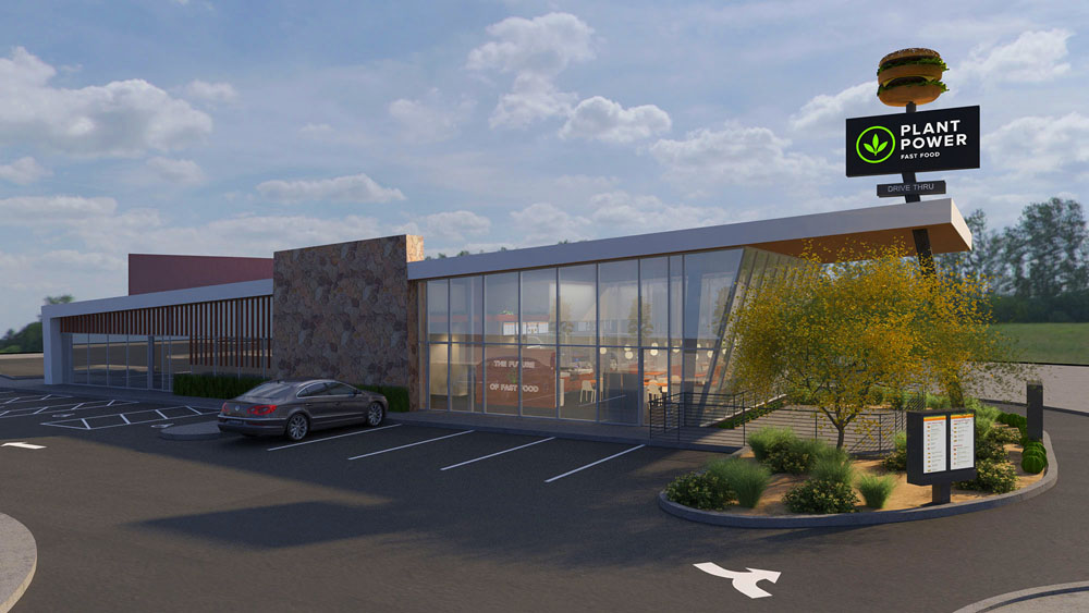 Rendering of the Plant Power Fast Food, 100% vegan drive-thru, headed to the northwest.