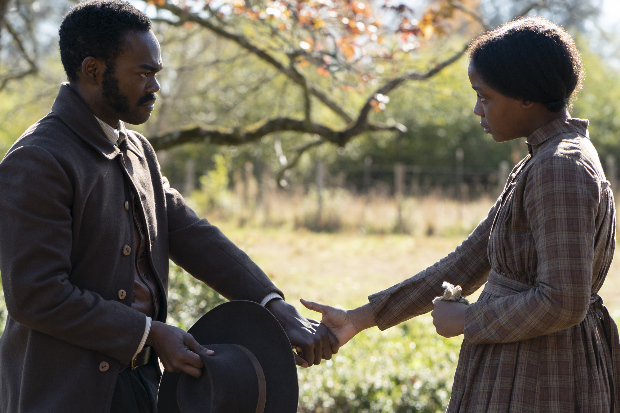 William Jackson Harper and Thuso Mbedu as Royal and Cora in The Underground Railroad