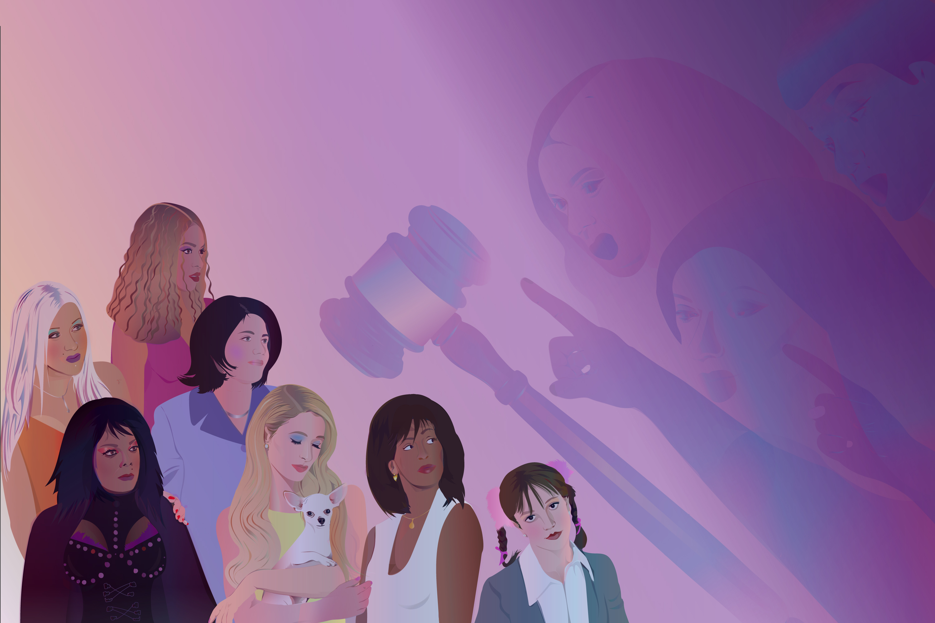 An illustration showing multiple women under a looming judge's gavel and a pointing finger.