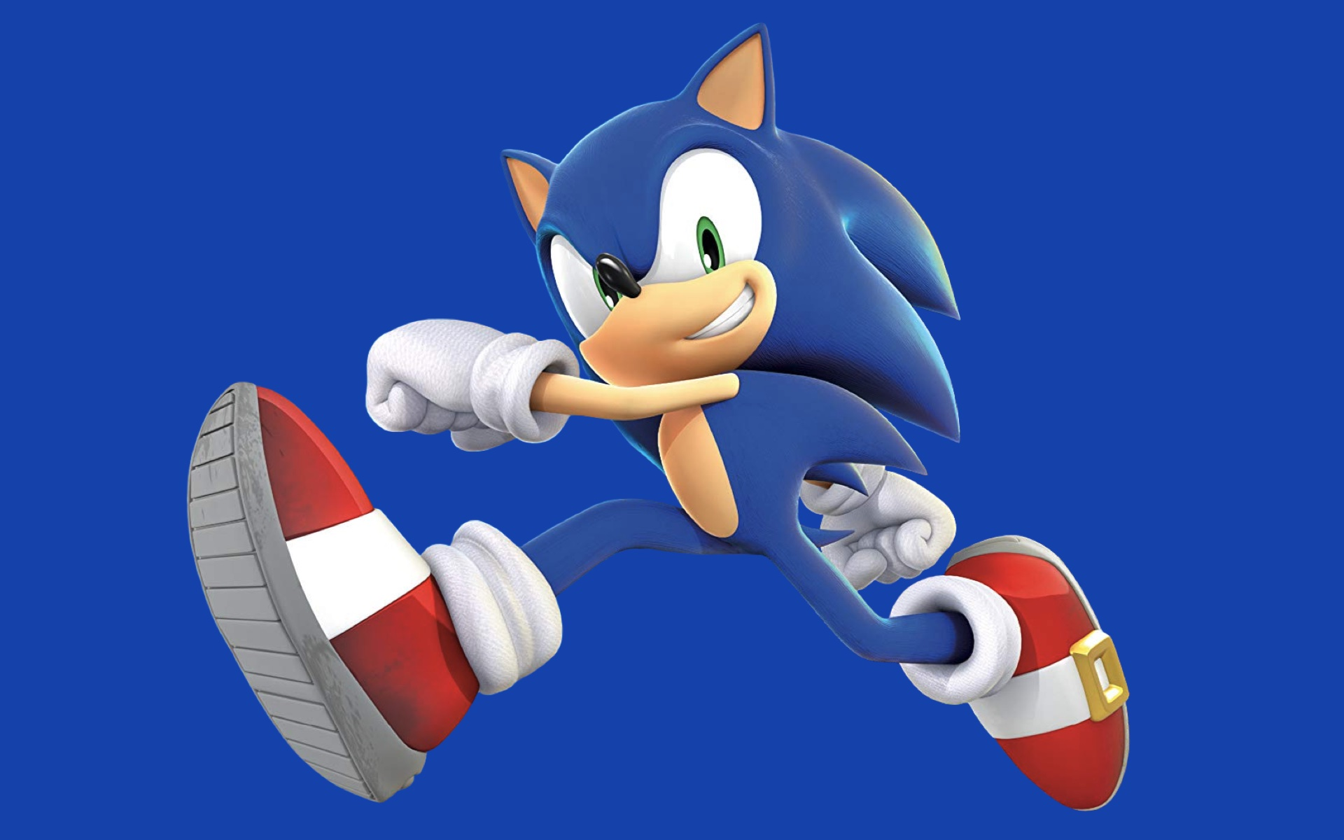Artwork of Sonic the Hedgehog on a blue background