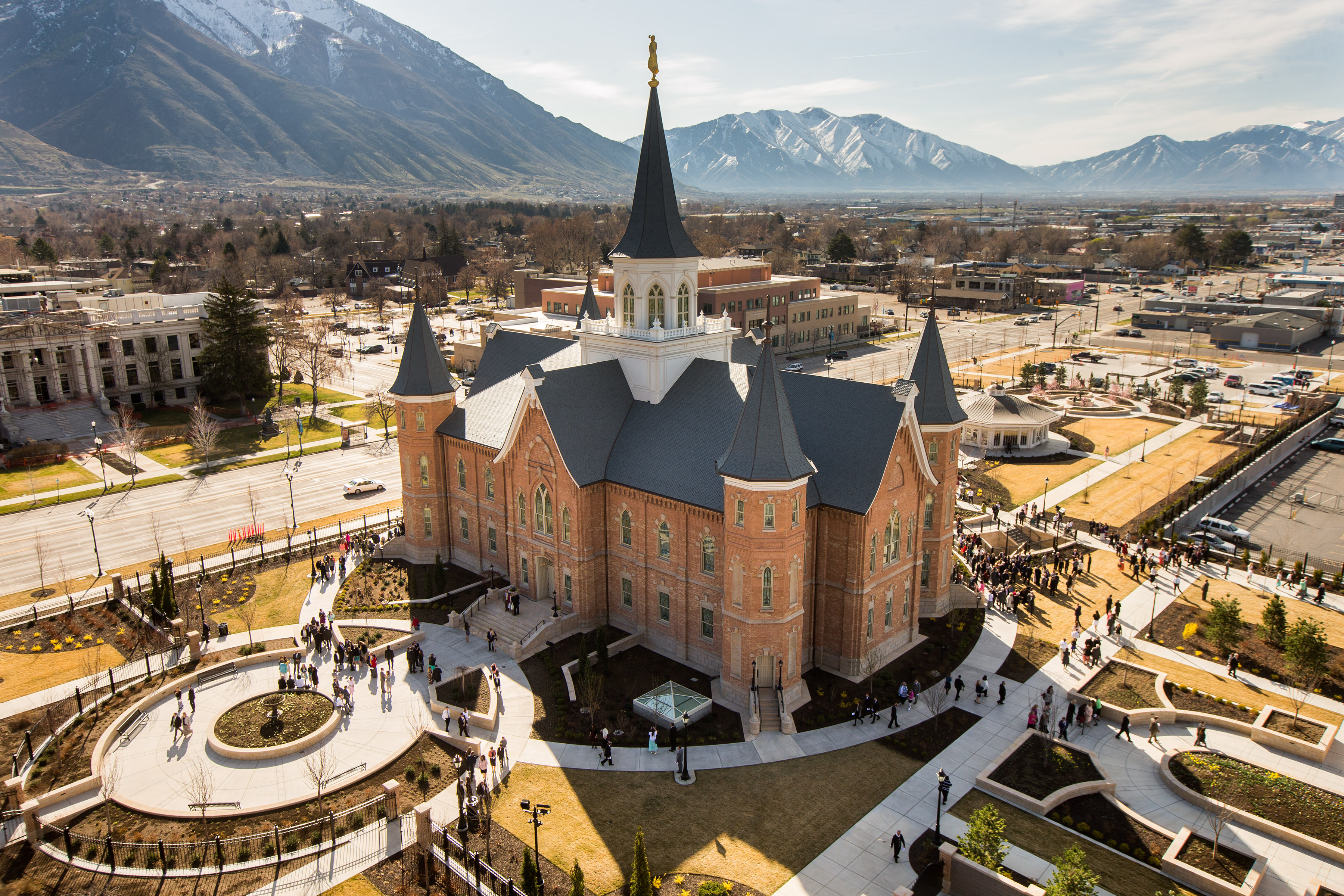 Attendees leave the Provo City Center Temple after the first dedicatory session in March 2016.