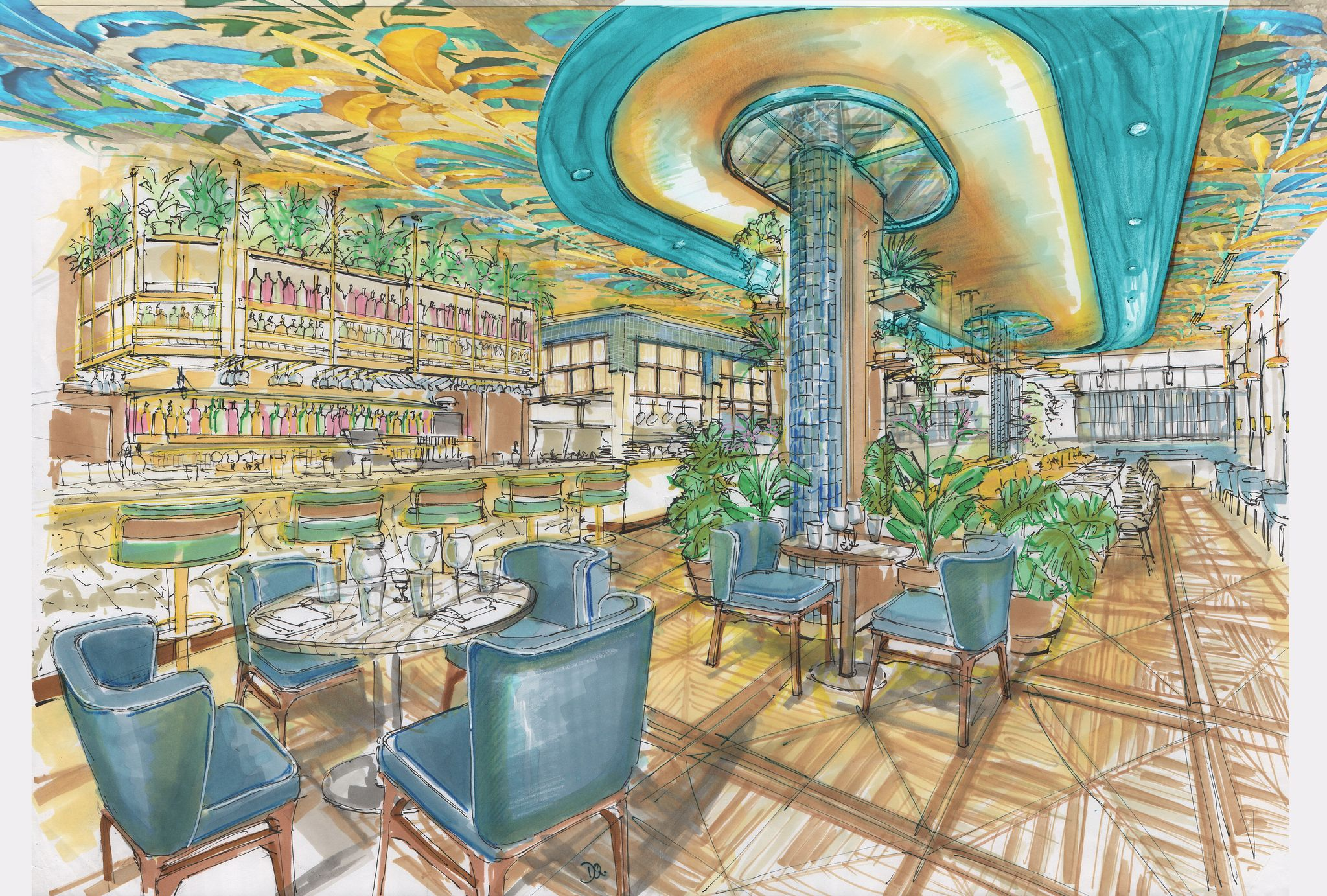 A colorful painted rendering of a leafy interior space with blue chairs and lots of yellow.