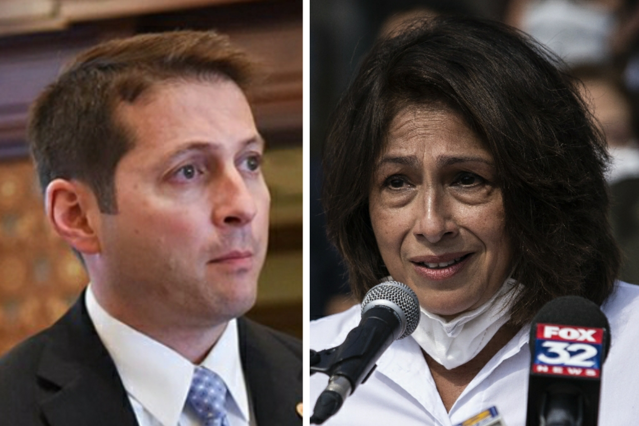 State Sen. Jason Barickman, R-Bloomington, left; State Rep. Lisa Hernandez, D-Cicero, right.