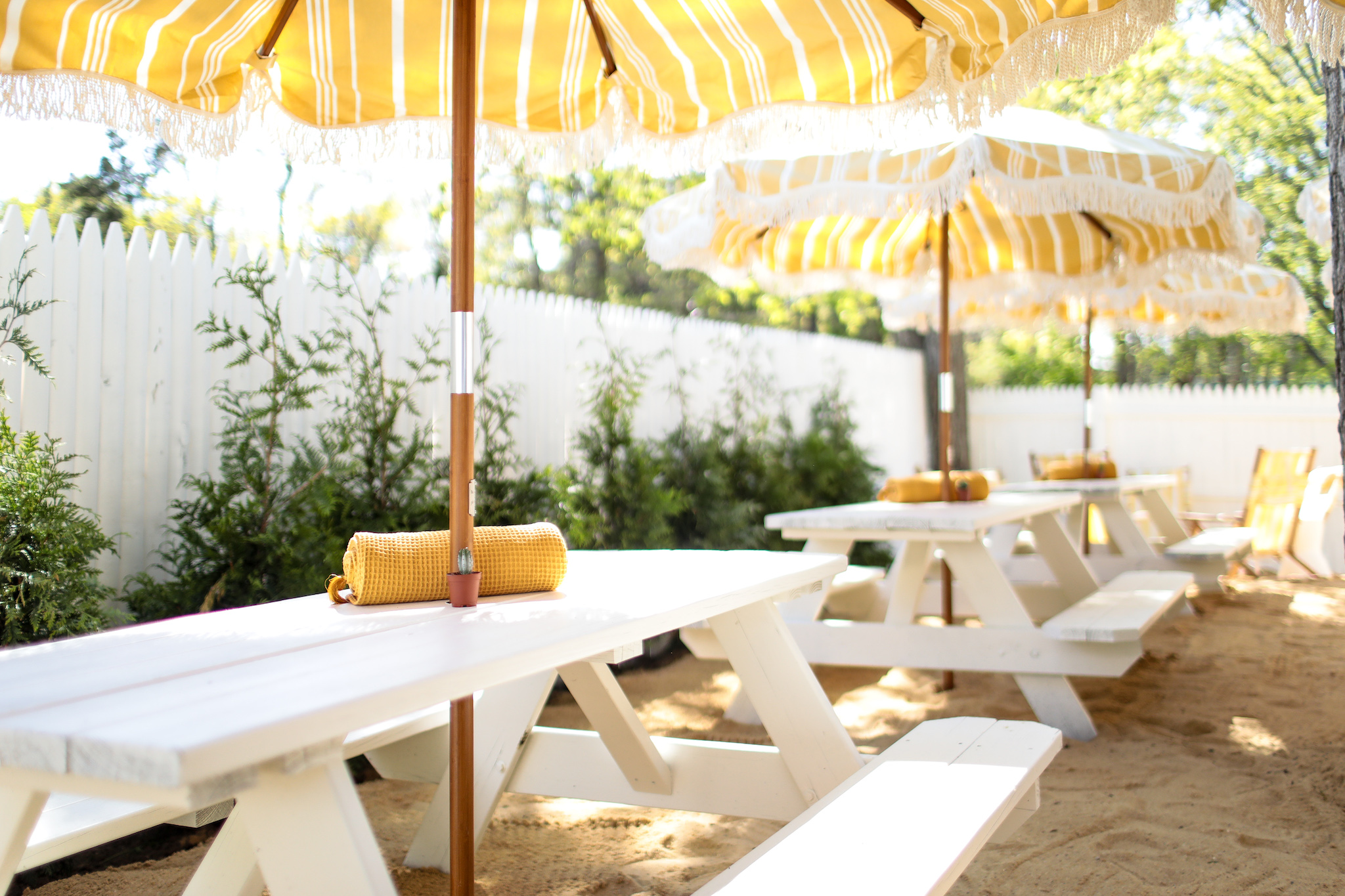 Picnic tables outside in the Hamptons