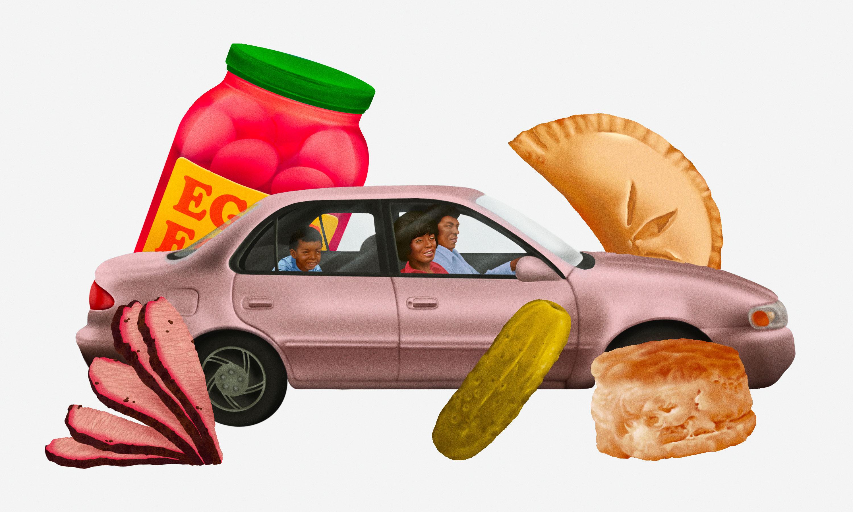 一辆轿车里的黑人家庭被饼干、泡菜和手派之类的超大点心包围着。