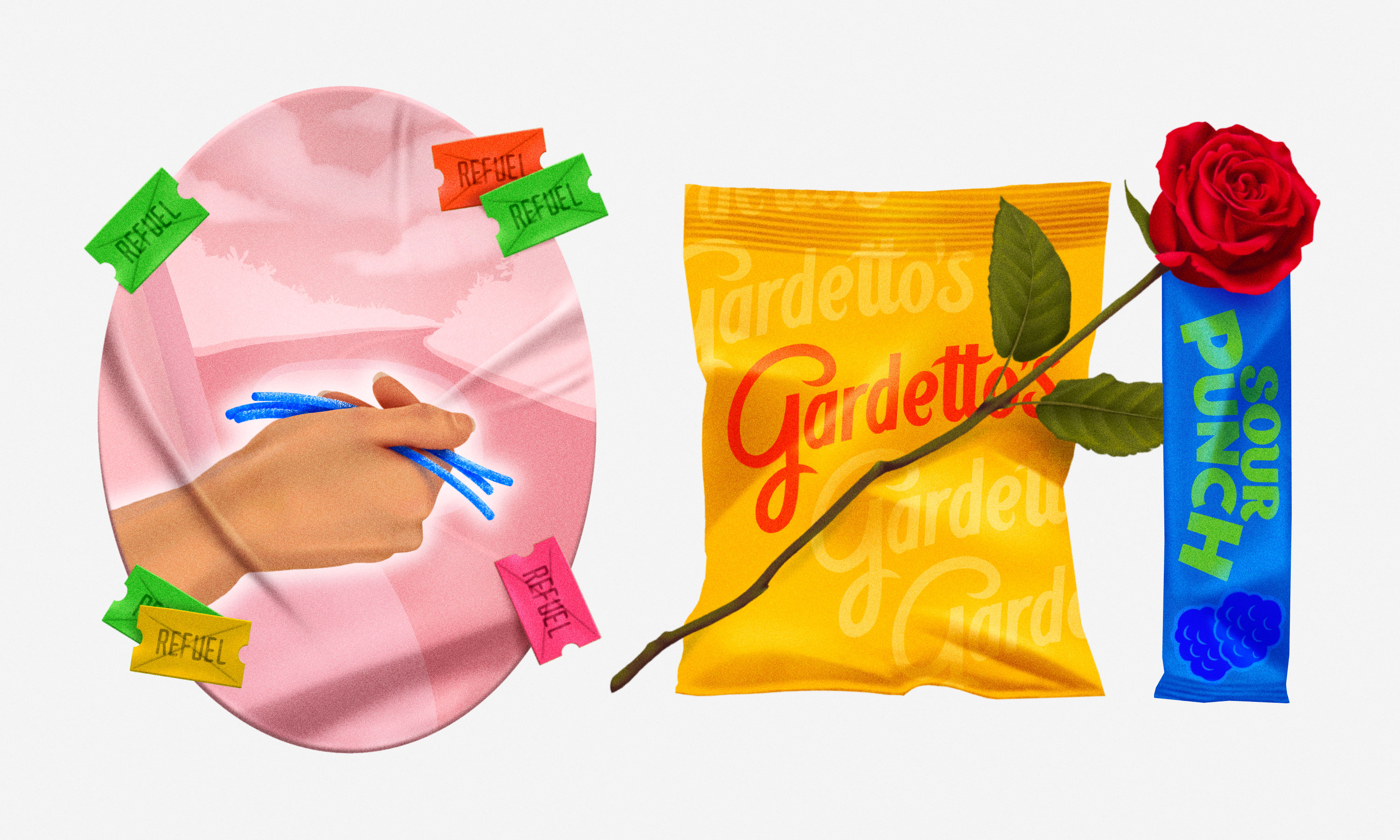Illustration of a bag of Gardetto's next to a hand holding two Sour Punch Straws.