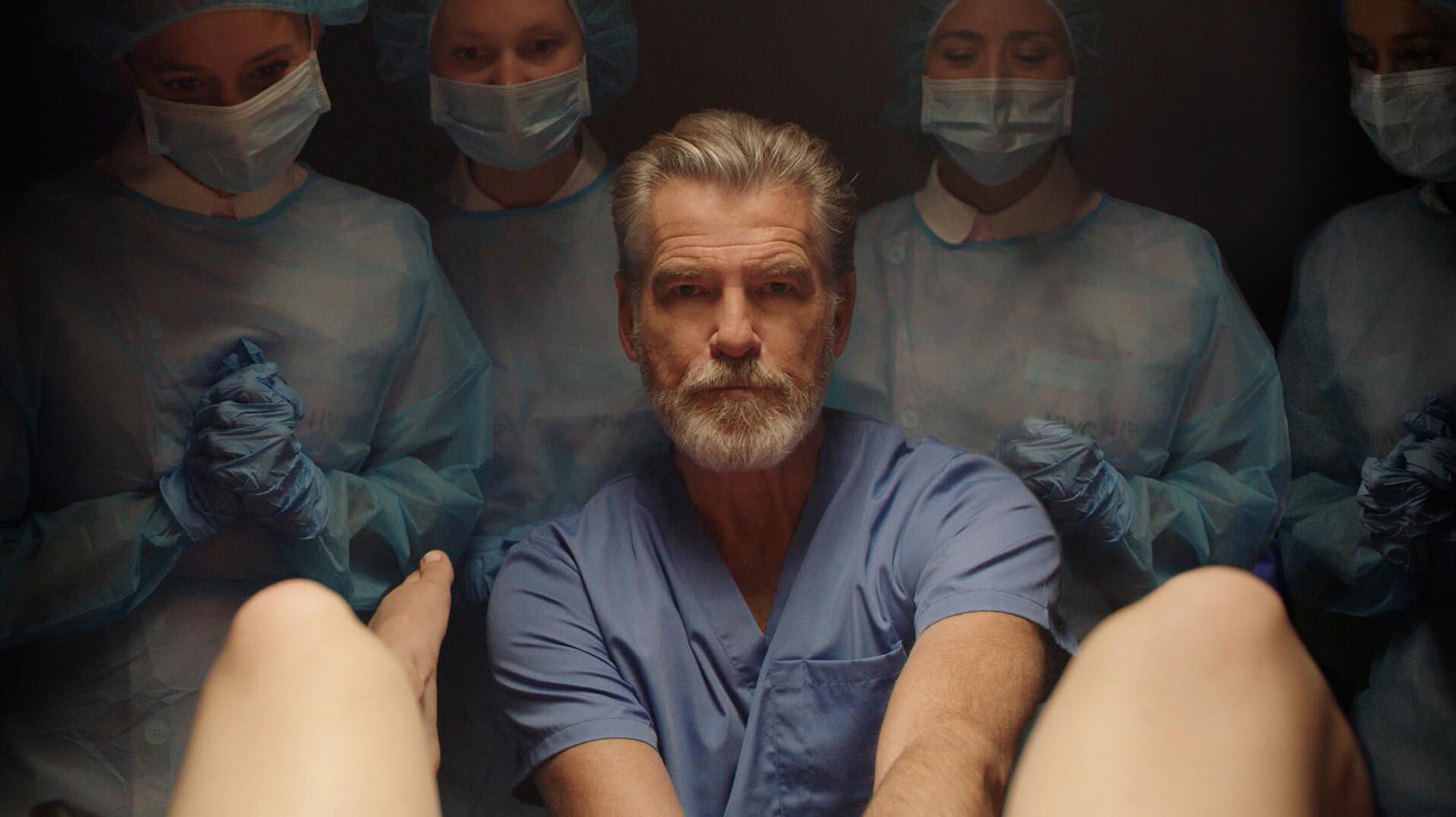Pierce Brosnan as Doctor Hindle in Hulu's False Positive