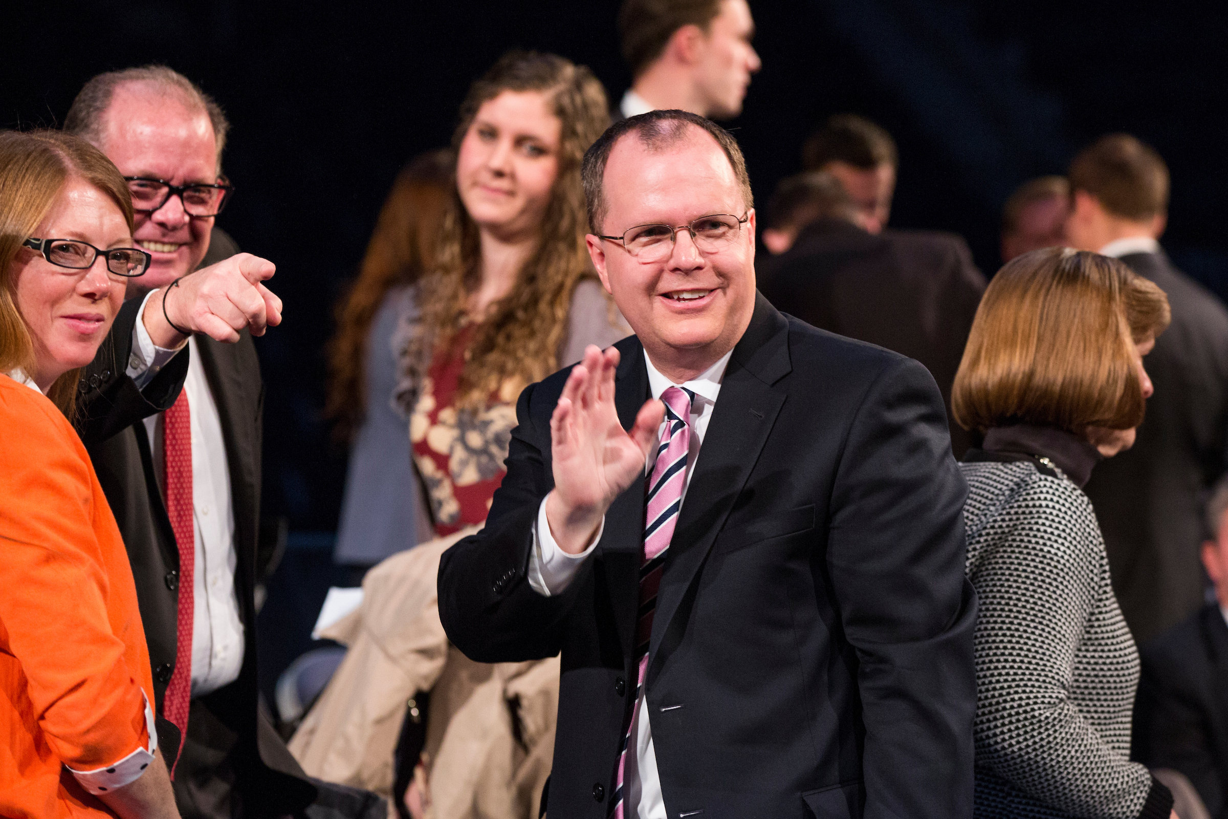 Brian K. Ashton waves after delivering a BYU devotional in Provo, Utah, in December 2017.