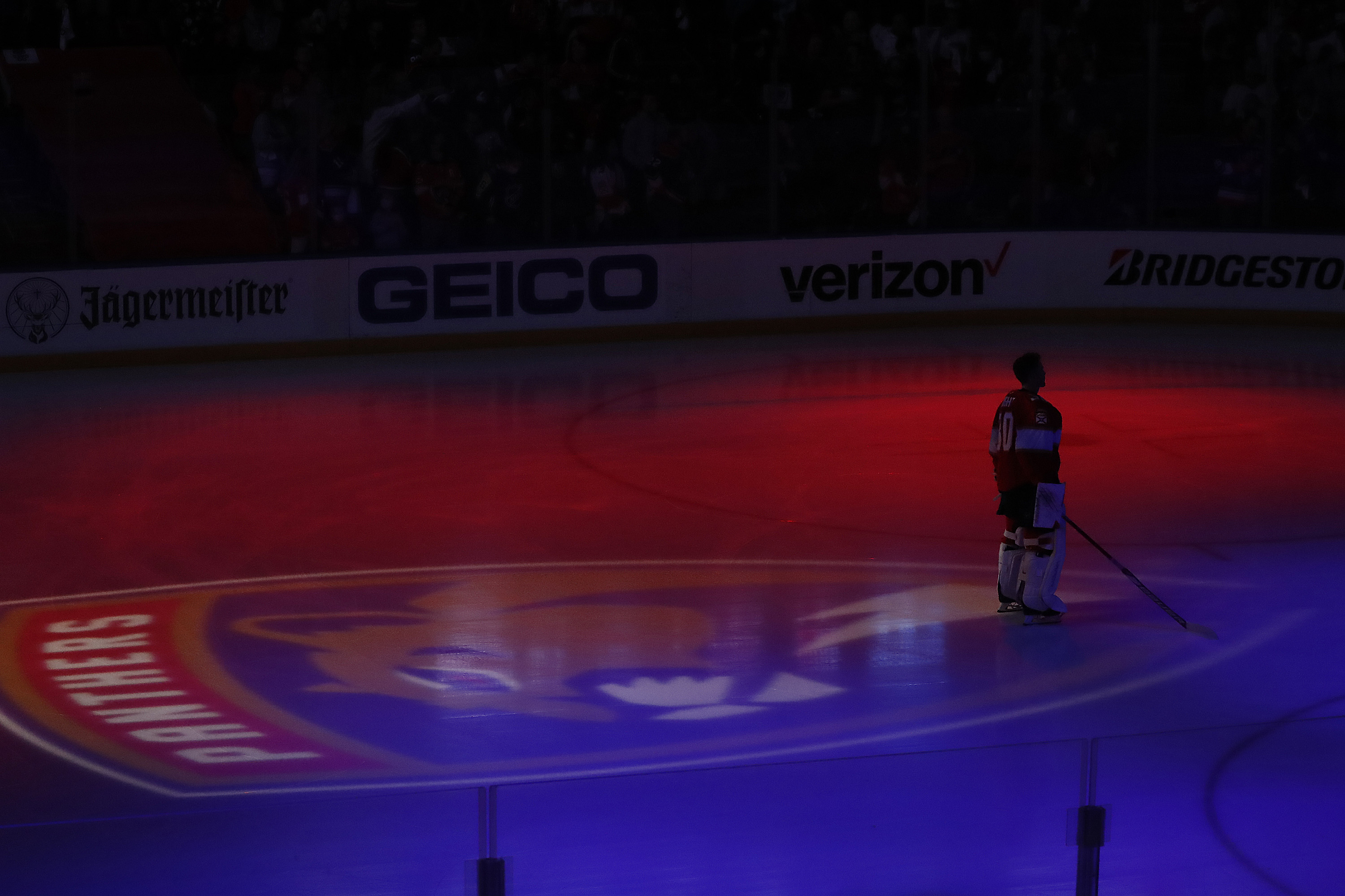 Goaltender Spencer Knight #30 of the Florida Panthers on the ice for the national anthem prior to his first playoff start against the Tampa Bay Lightning in Game Five of the First Round of the 2021 Stanley Cup Playoffs at the BB&T Center on May 24, 2021 in Sunrise, Florida.