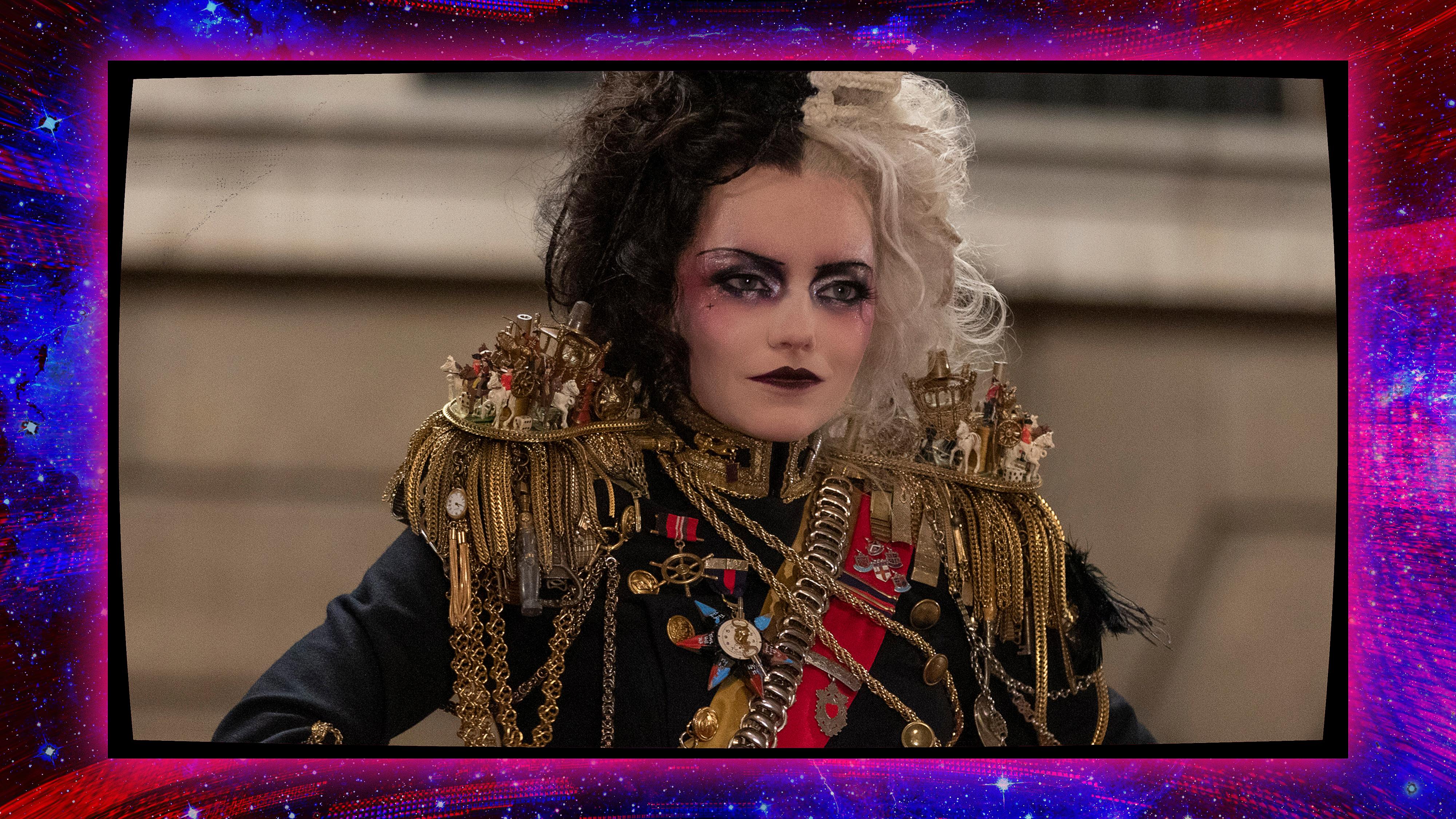 Cruella (Emma Stone) in her royal punk look in Cruella