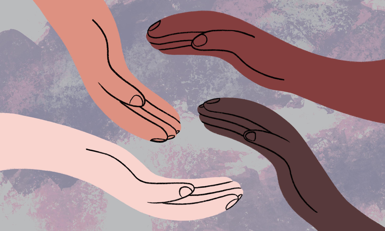 四手互相旋转的插图。