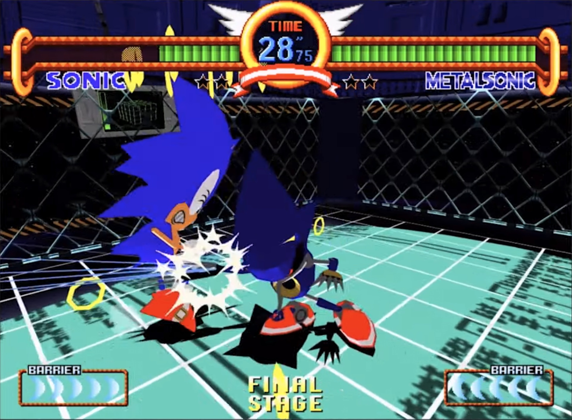 Metal Sonic punches Sonic in a screenshot from Sonic the Fighters