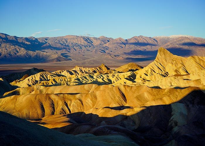 Sunrise shot of Zabriskie Point in Death Valley