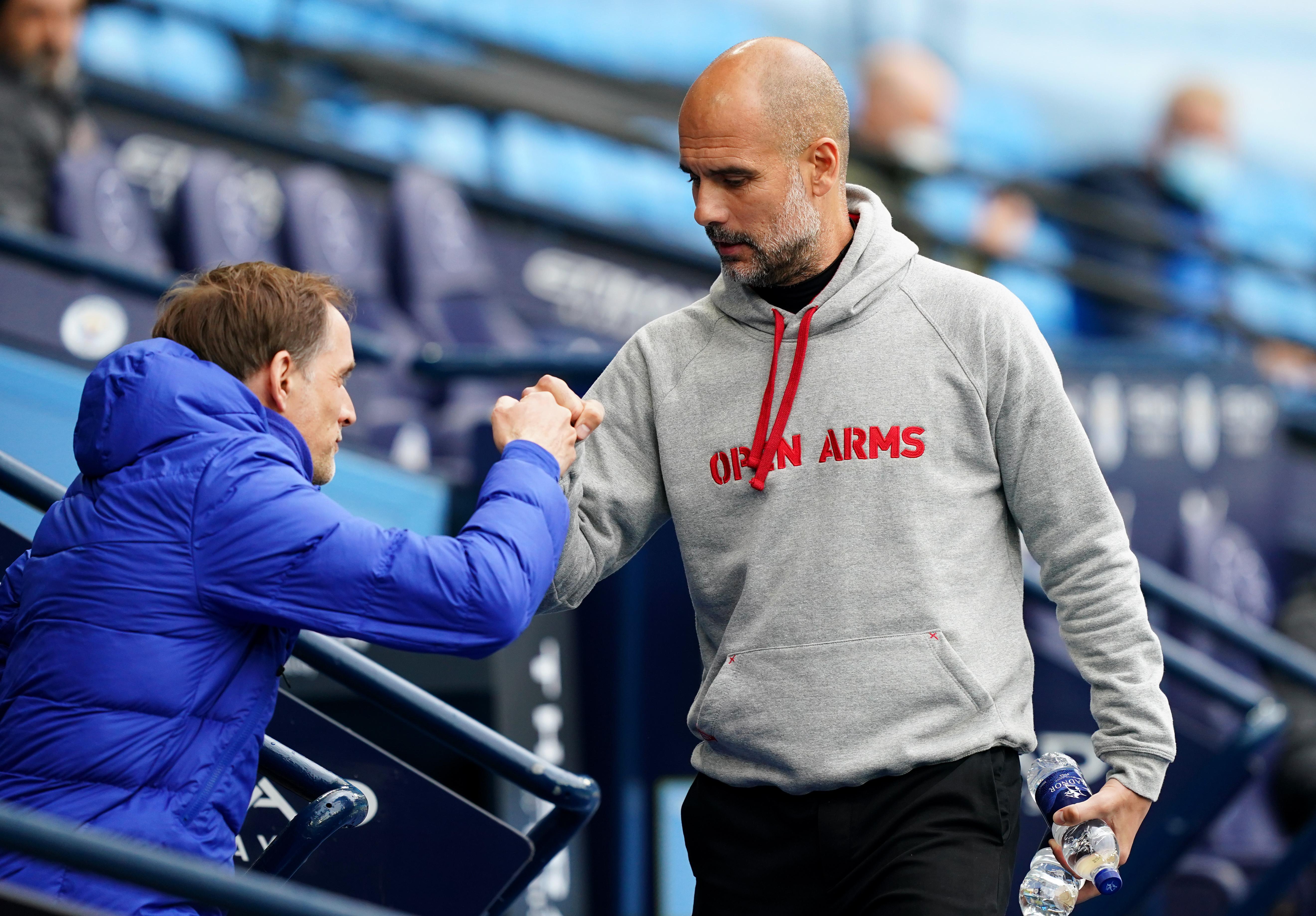 Pep Guardiola greets Thomas Tuchel - Manchester City v Chelsea - Champions League