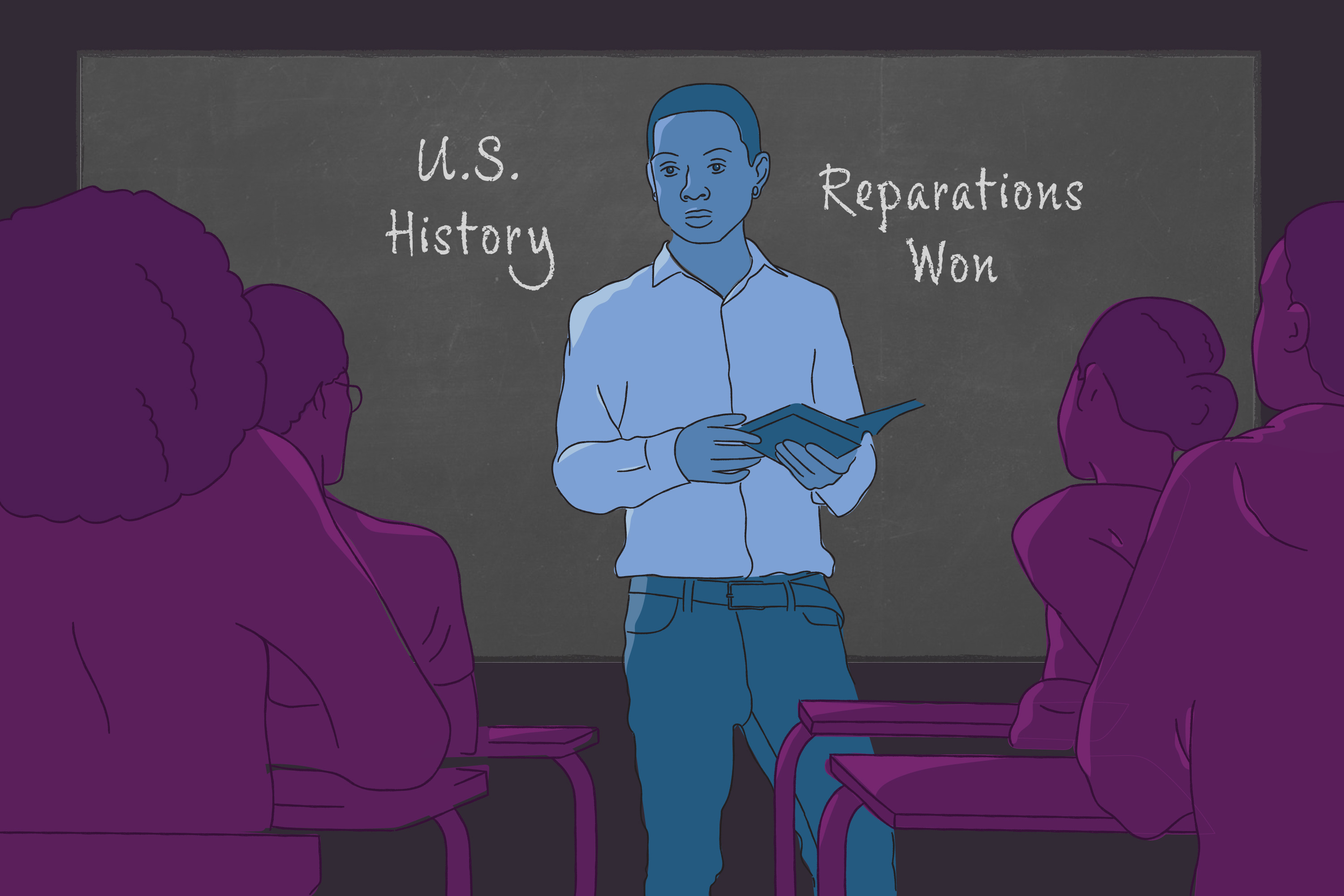 """The illustration shows a teacher standing in front of a class of high school students. The blackboard behind him reads """"U.S. History"""" and """"Reparations Won."""""""