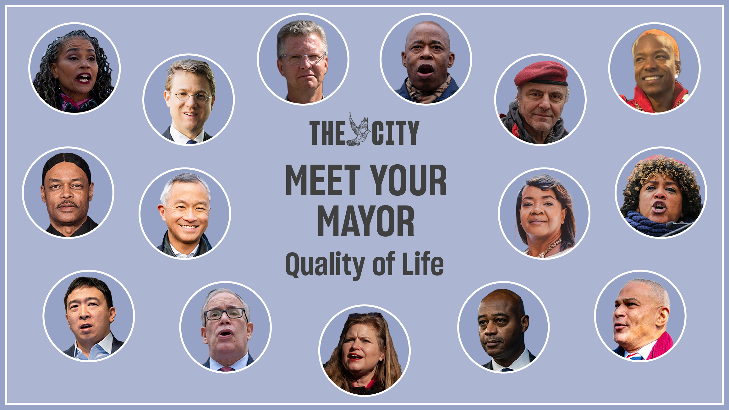 Headshots of the candidates featured in Meet Your Mayor.