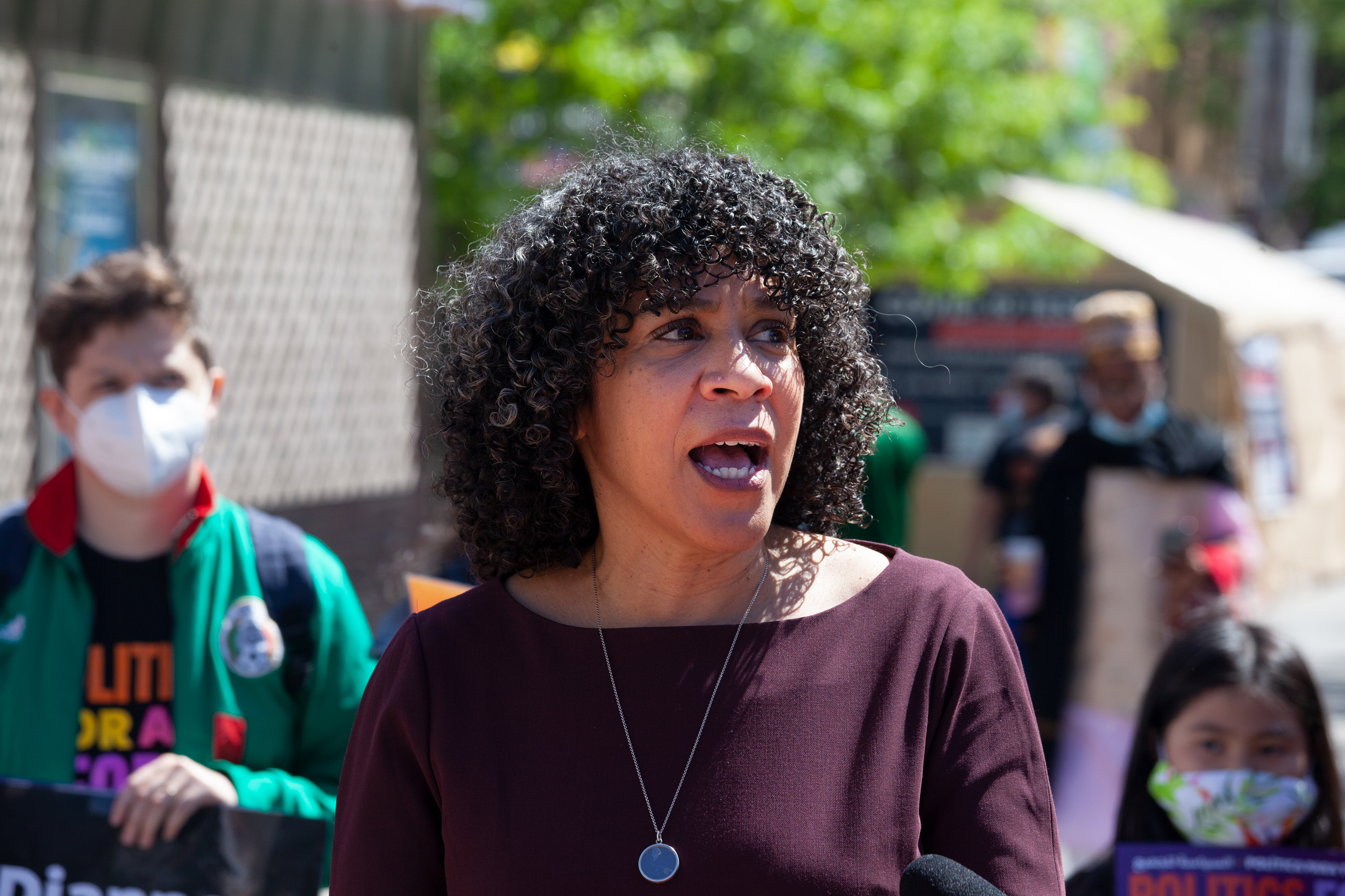 Mayoral candidate Dianne Morales endorses Jimmy Van Bramer in Jackson Heights in his run for Queens borough president, May 13, 2021.