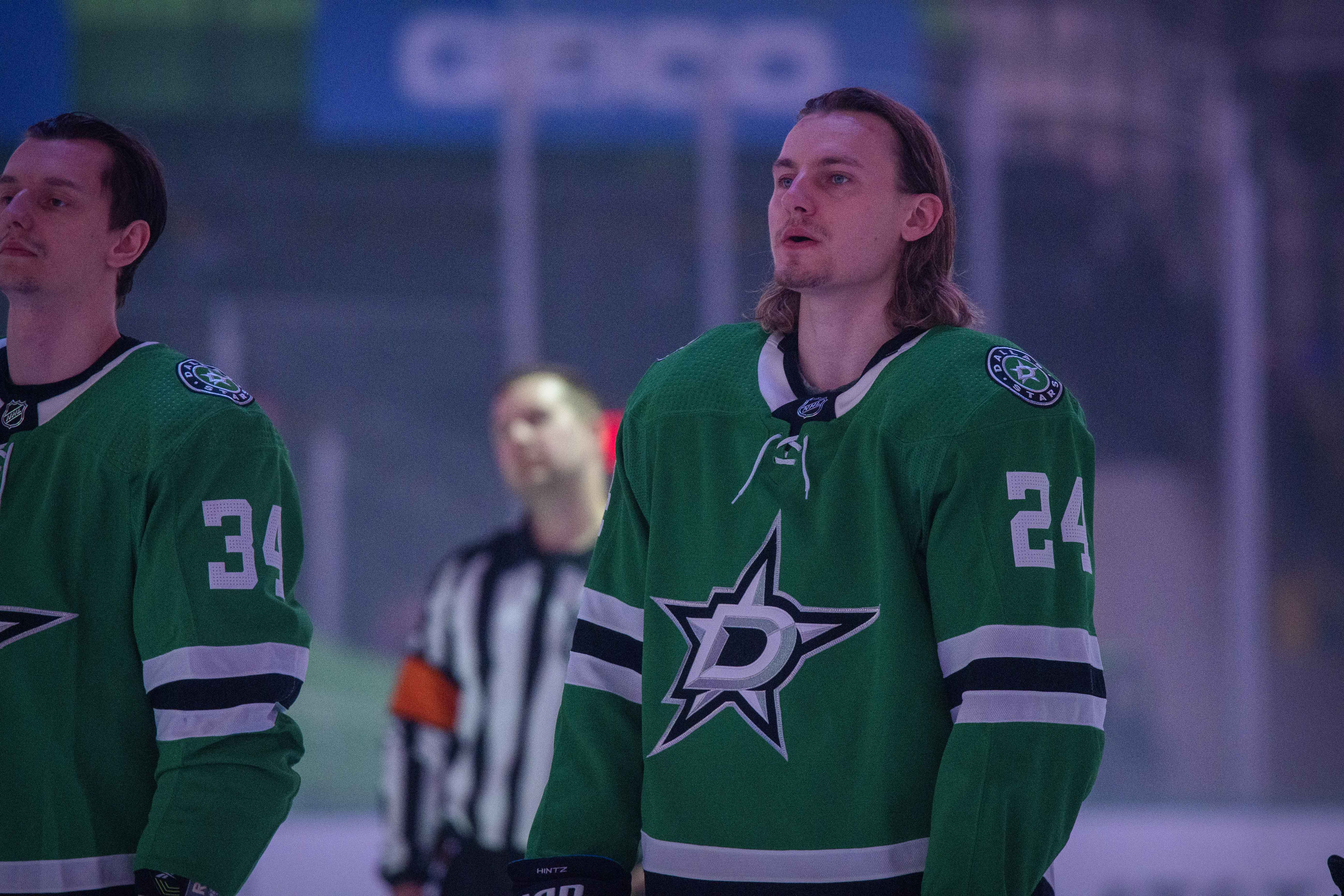 Roope Hintz prepares for a typical game at the American Airlines Center.