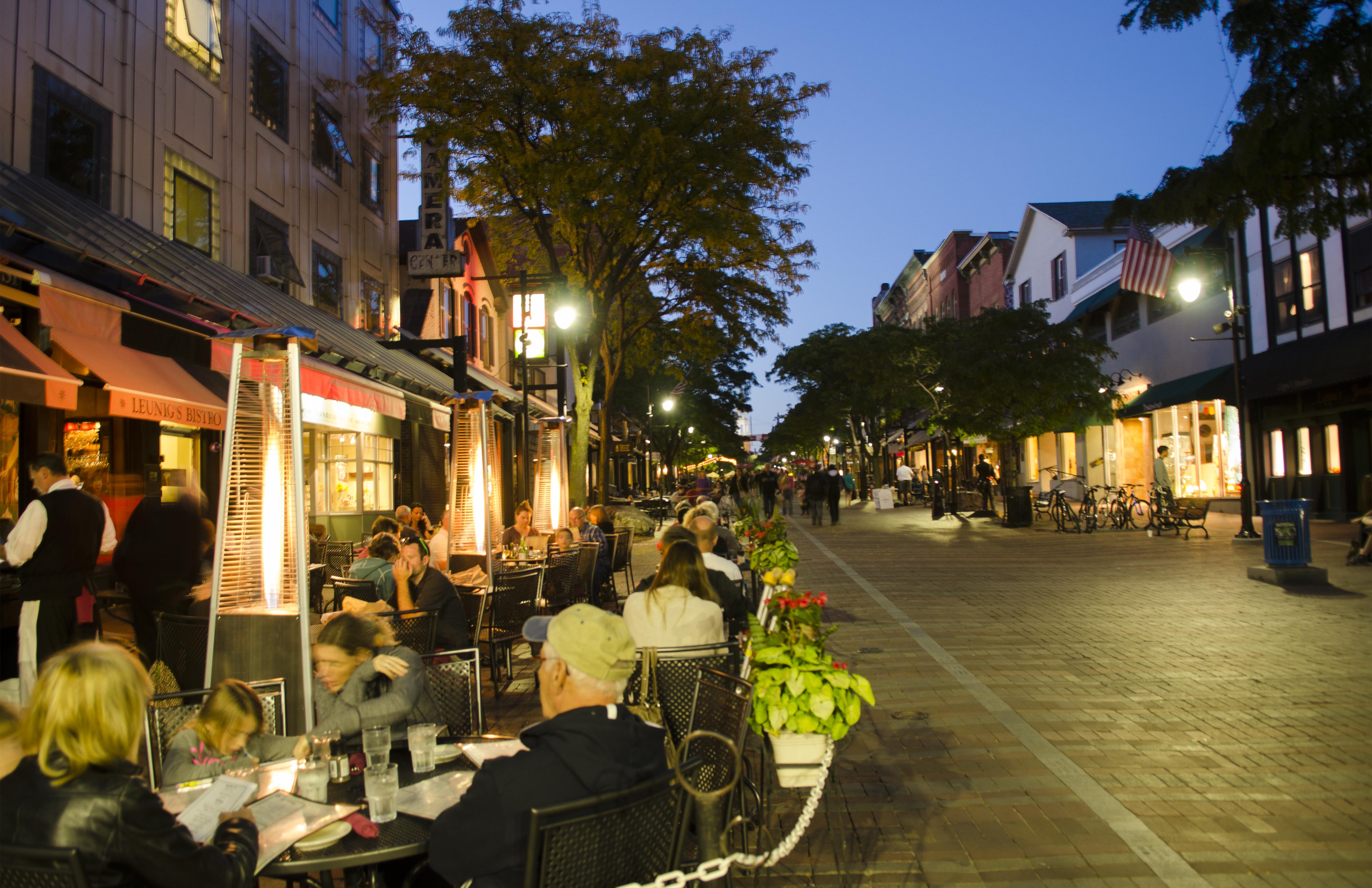 Burlington, Vermont, Church Street downtown with restaurants and tourists