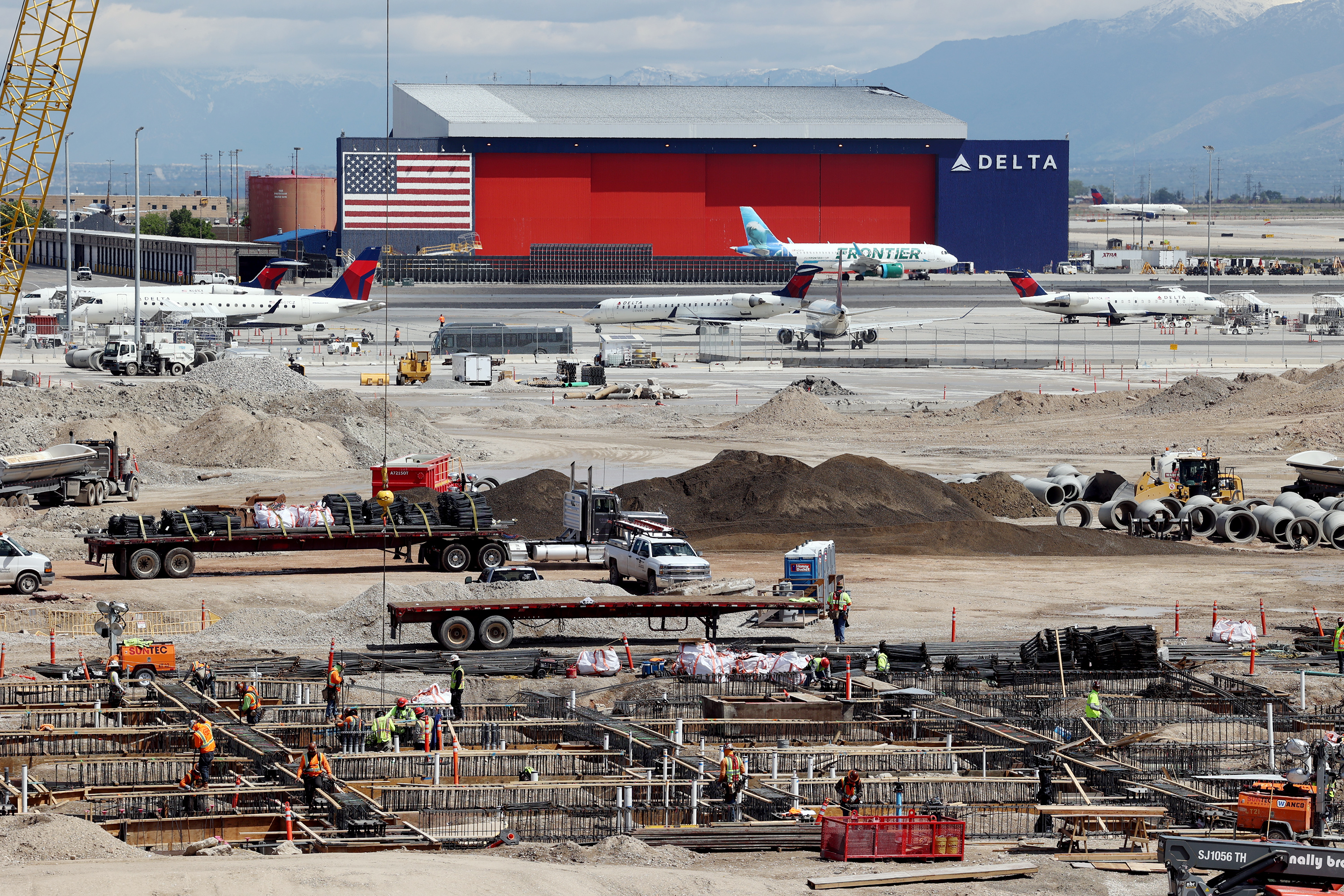 Construction continues on the new Salt Lake City International Airport on Monday, May 24, 2021.