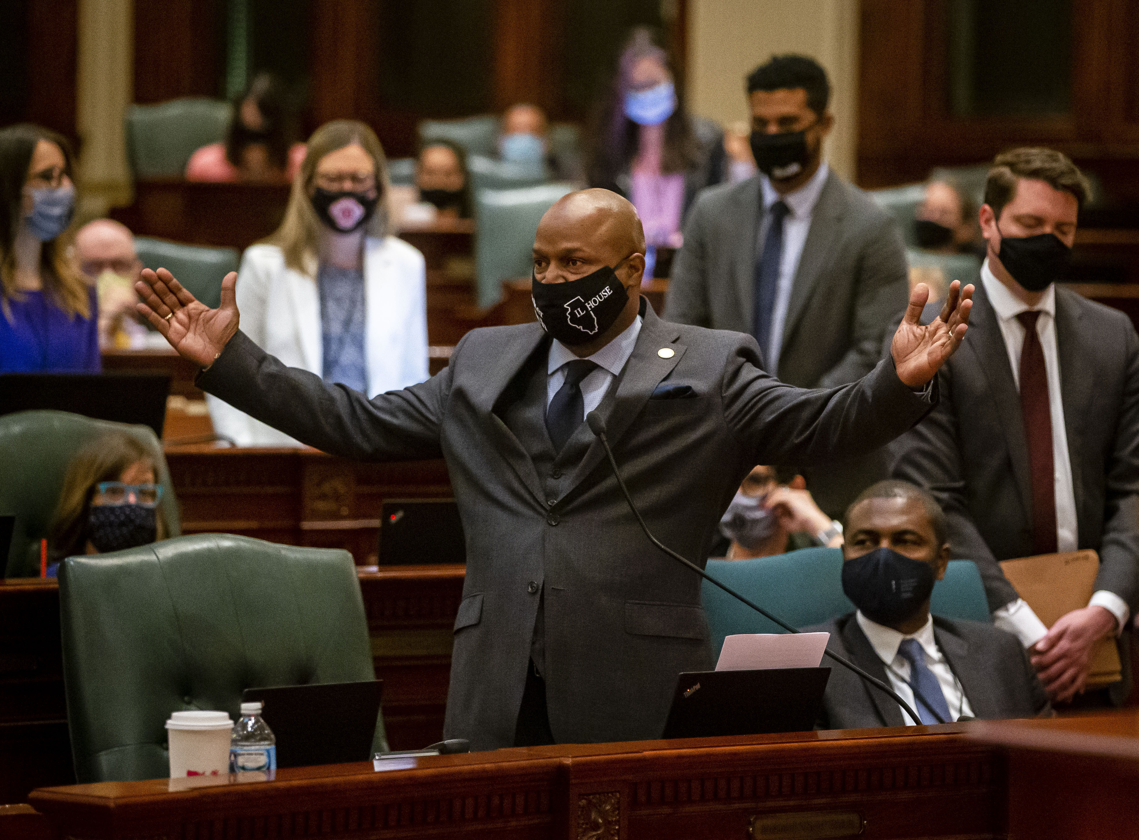 """Illinois House Speaker Emanuel """"Chris"""" Welch, D-Hillside, delivers his remarks on the floor of the Illinois House of Representatives on Friday."""