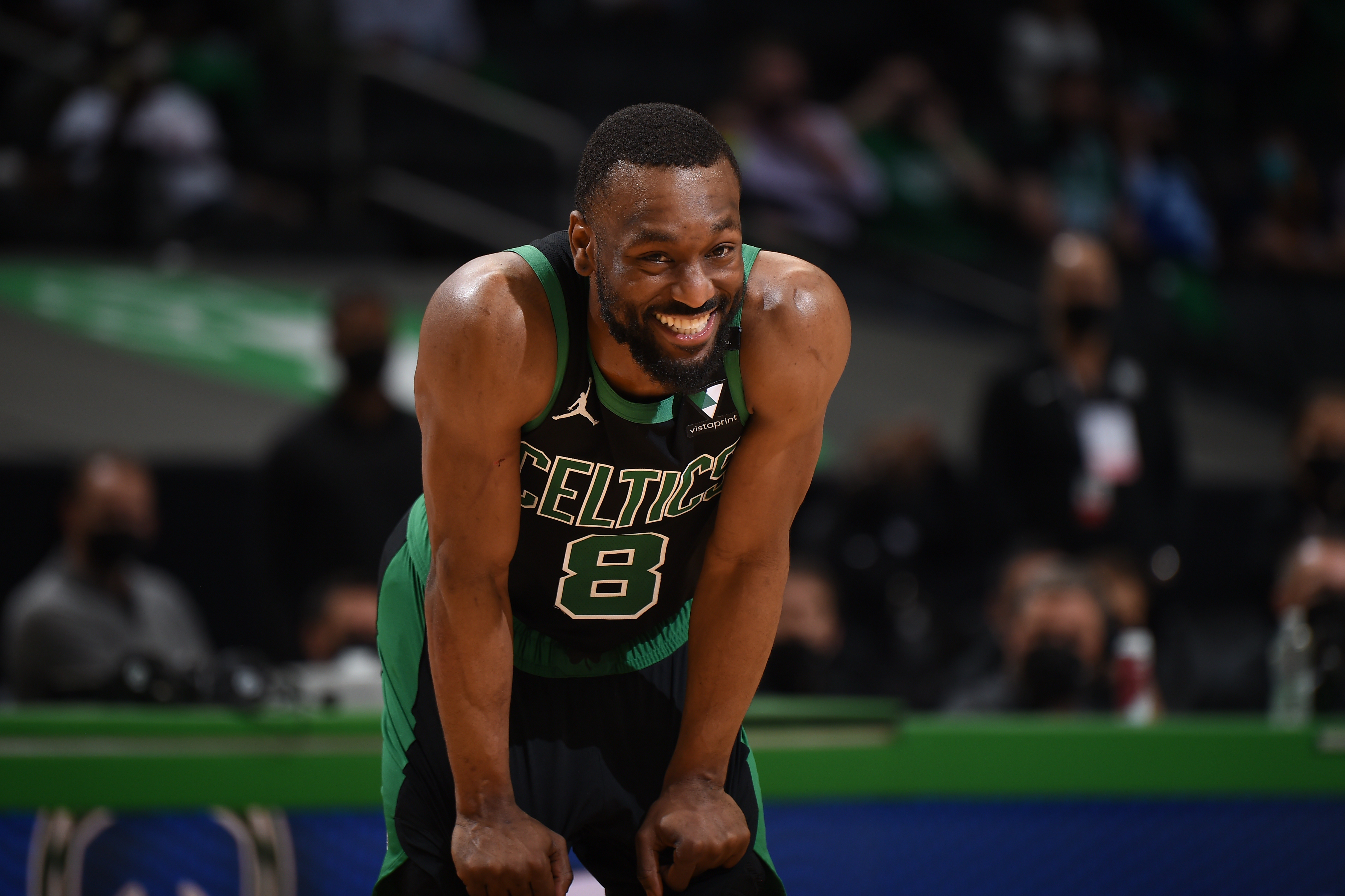 Kemba Walker of the Boston Celtics smiles during the game against the Brooklyn Nets during Round 1, Game 3 of the 2021 NBA Playoffs on May 28, 2021 at the TD Garden in Boston, Massachusetts.