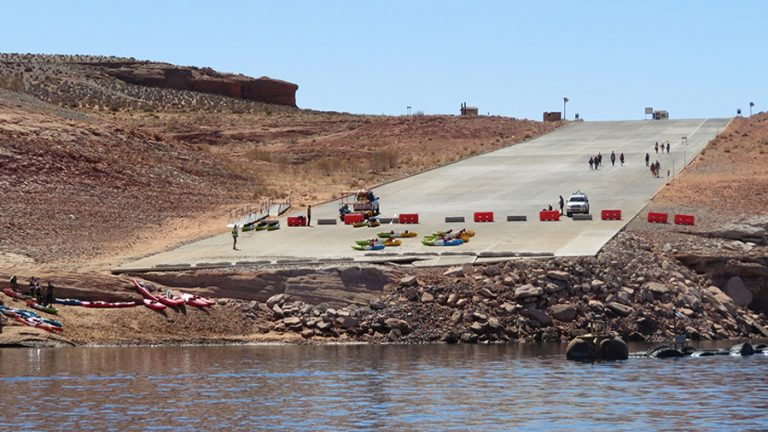 The Antelope Point launch ramp is closed due to dropping water levels at Lake Powell.