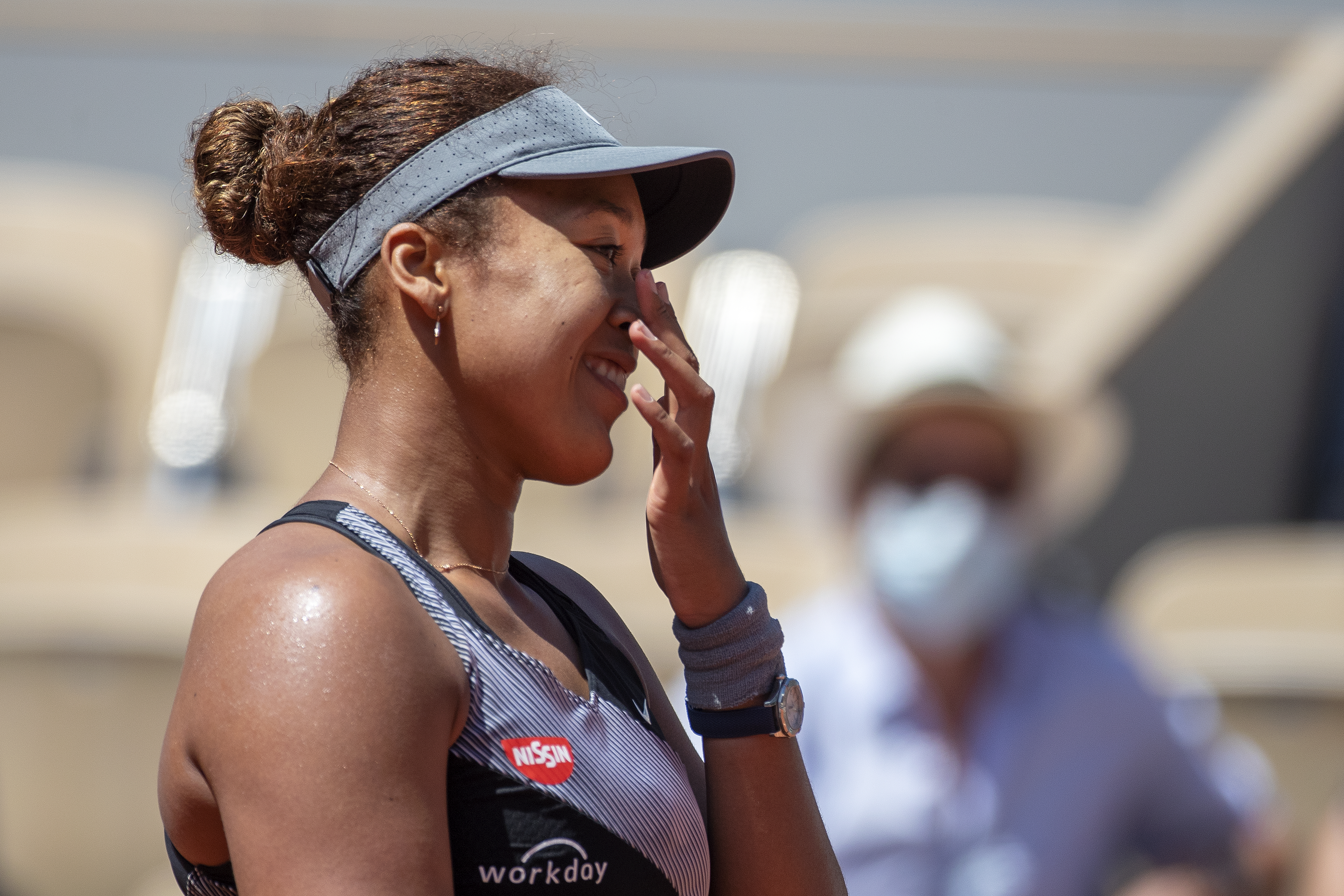 Naomi Osaka of Japan celebrates her victory against Patricia Maria Tig of Romania in the first round of the Women's Singles competition on Court Philippe-Chatrier at the 2021 French Open Tennis Tournament at Roland Garros on May 30th 2021 in Paris, France.