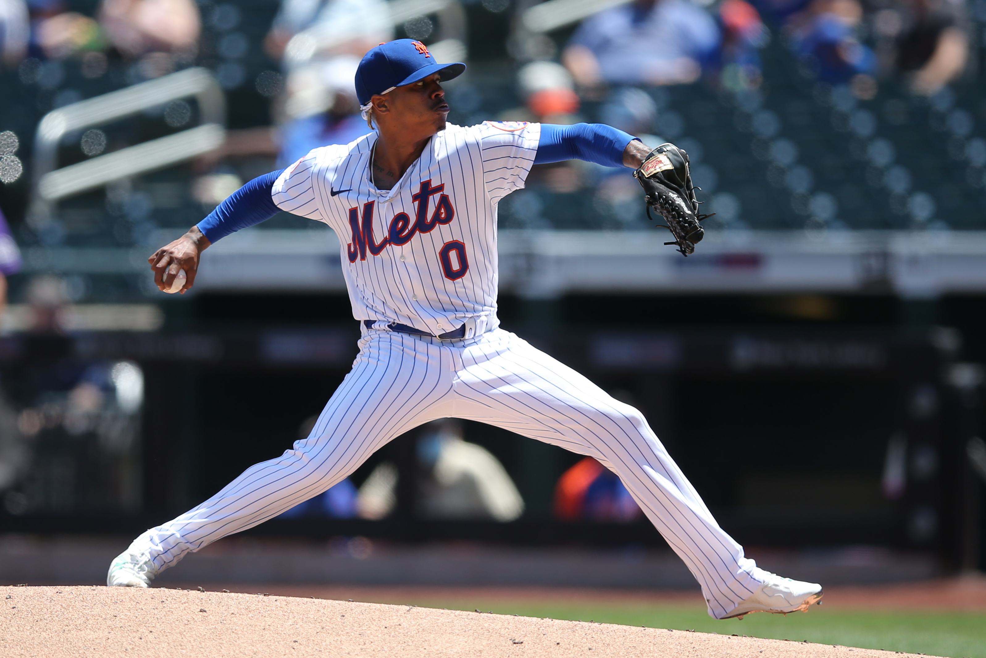 New York Mets starting pitcher Marcus Stroman (0) pitches against the Colorado Rockies during the second inning at Citi Field