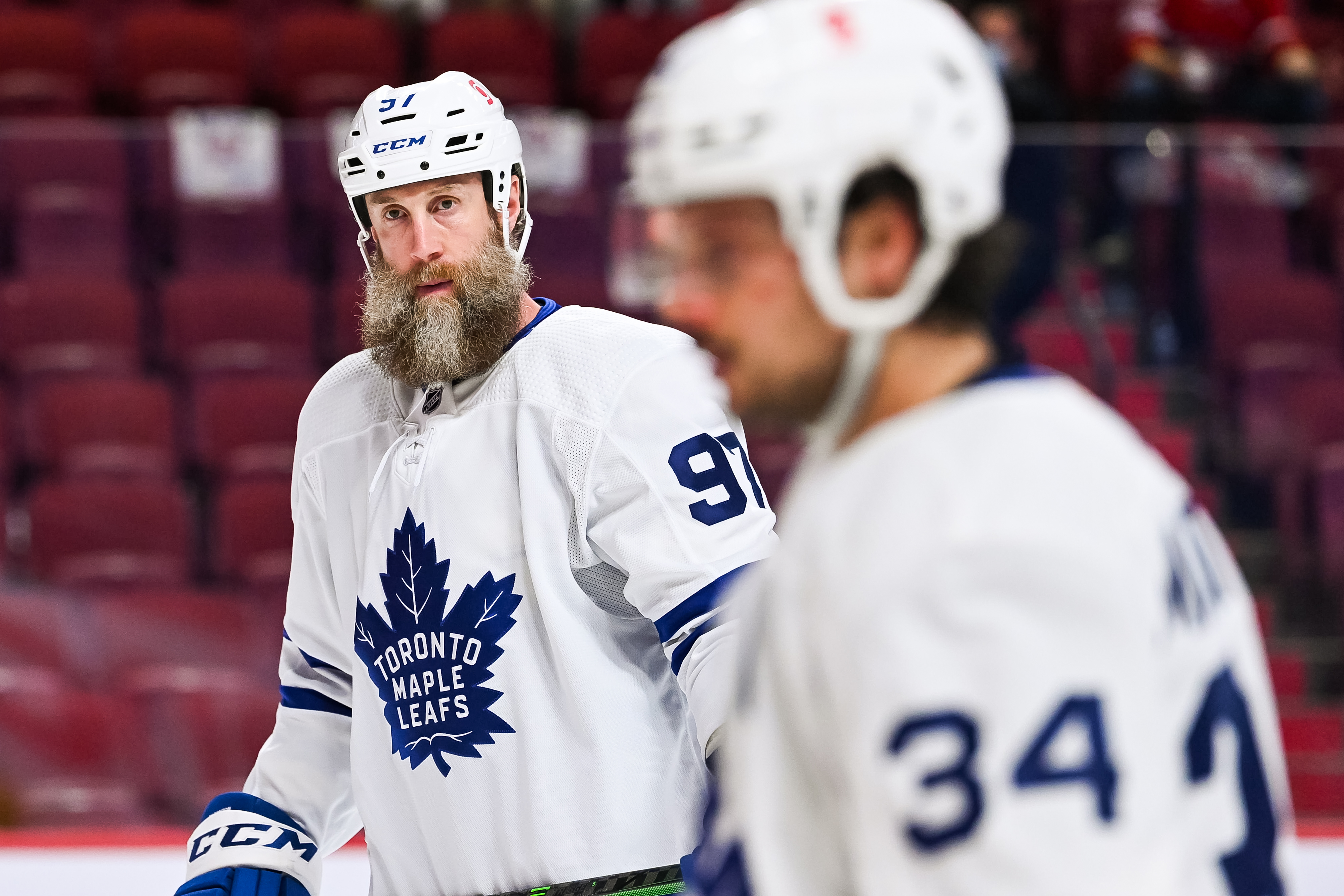 Look on Toronto Maple Leafs center Joe Thornton (97) during the NHL Stanley Cup Playoffs first round game 6 between the Toronto Maple Leafs versus the Montreal Canadiens on May 29, 2021, at Bell Centre in Montreal, QC