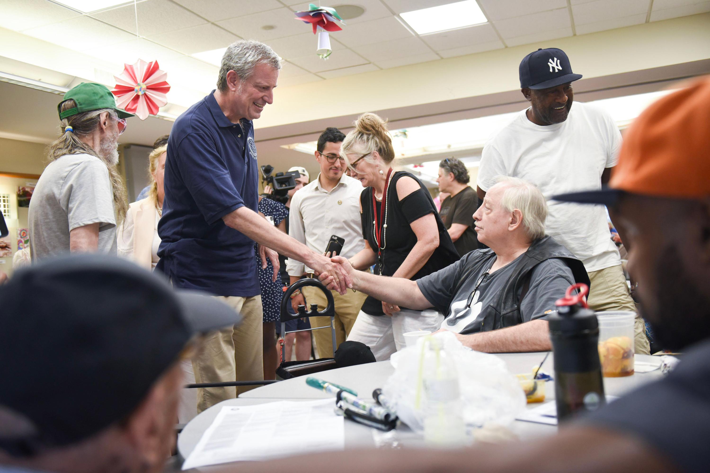 Mayor Bill de Blasio visits the Lenox Hill Innovative Senior Center in Manhattan, July 20, 2019.