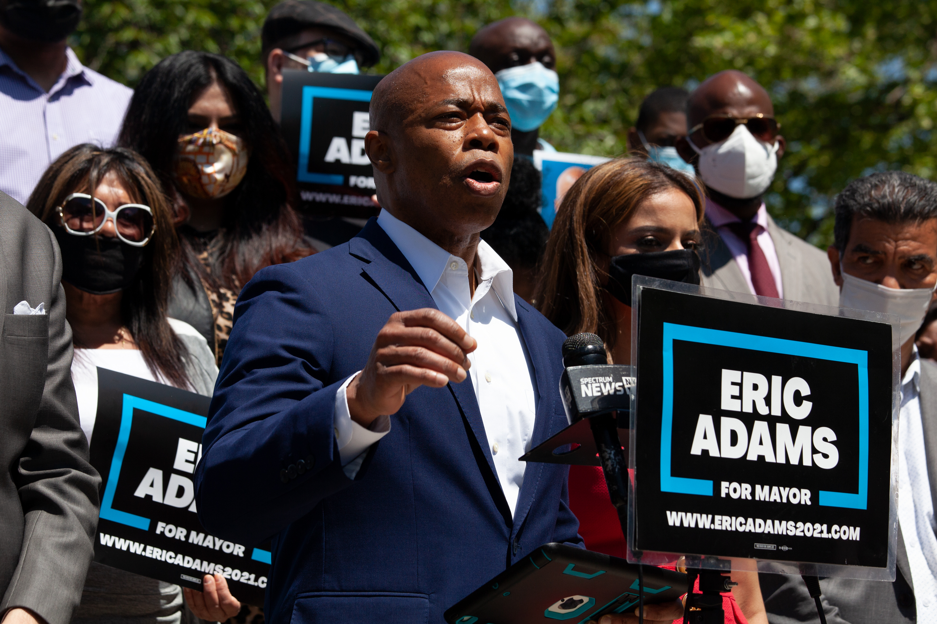 Mayoral candidate and Brooklyn Borough President Eric Adams announces a plan at Cadman Plaza to fight wealth inequality, May 11, 2021.