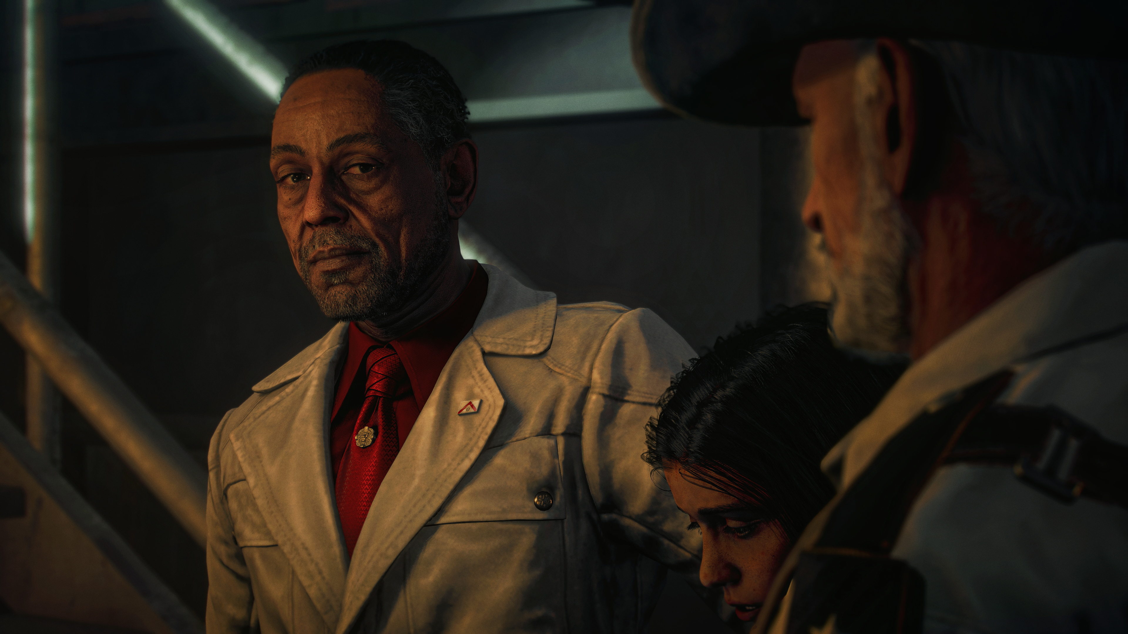 three people, two of them old men and one a boy between them, acknowledging each other silently in Far Cry 6