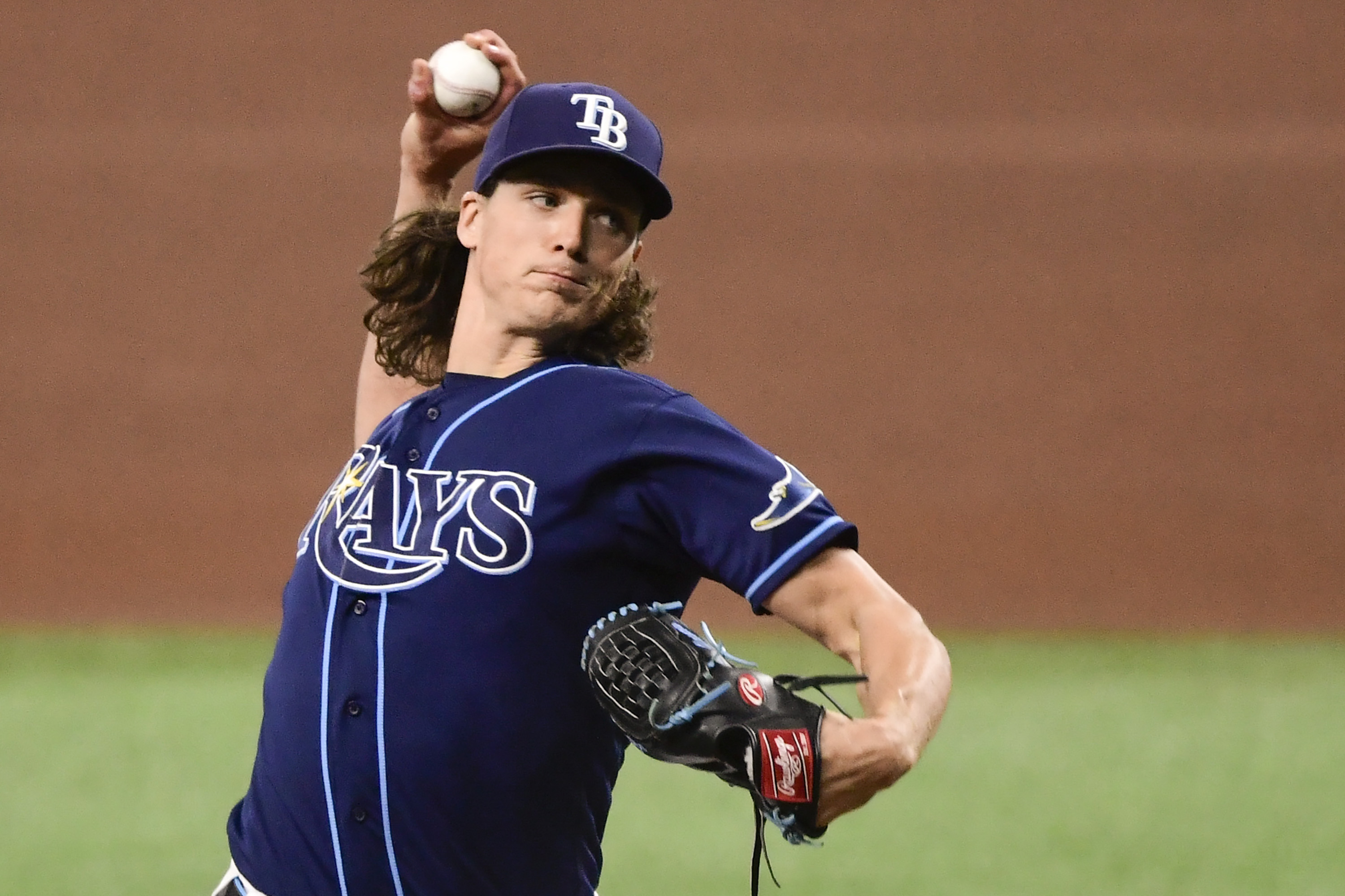 Tyler Glasnow #20 of the Tampa Bay Rays throws a pitch during the fourth inning against the Kansas City Royals at Tropicana Field on May 26, 2021 in St Petersburg, Florida.