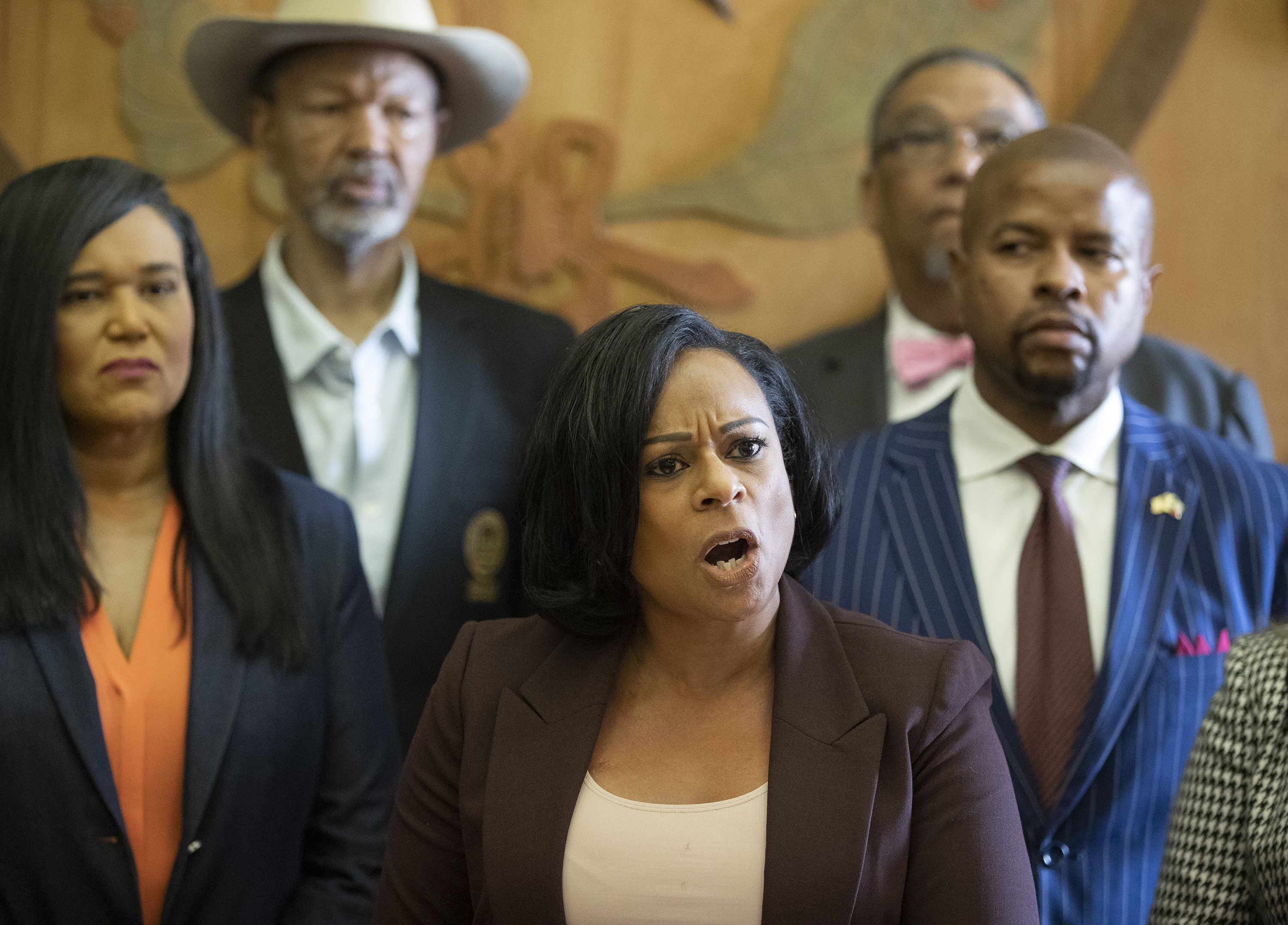 State Rep. Nicole Collier, D- Fort Worth, the chair of the Legislative Black Caucus, speaks at a news conference at the Capitol on Sunday May 30, 2021, against Senate Bill 7, known as the Election Integrity Protection Act.