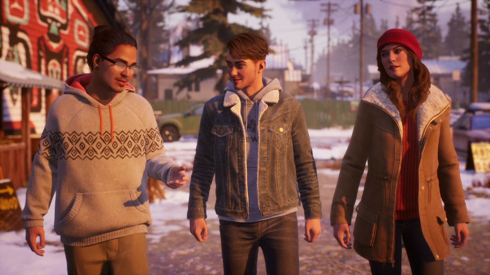 three young people walking side by side