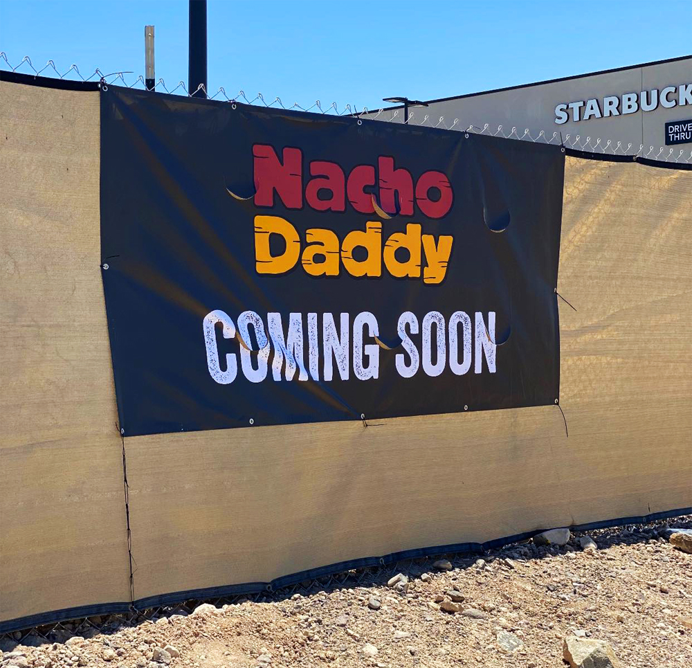 Construction fences up at the St Rose Square site of the new Nacho Daddy returning to Henderson.