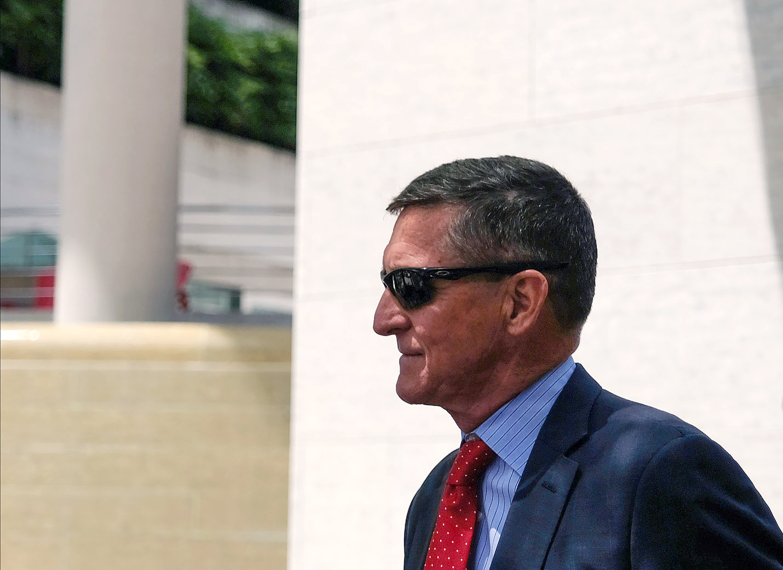 Former national security adviser Michael Flynn wearing dark glasses.