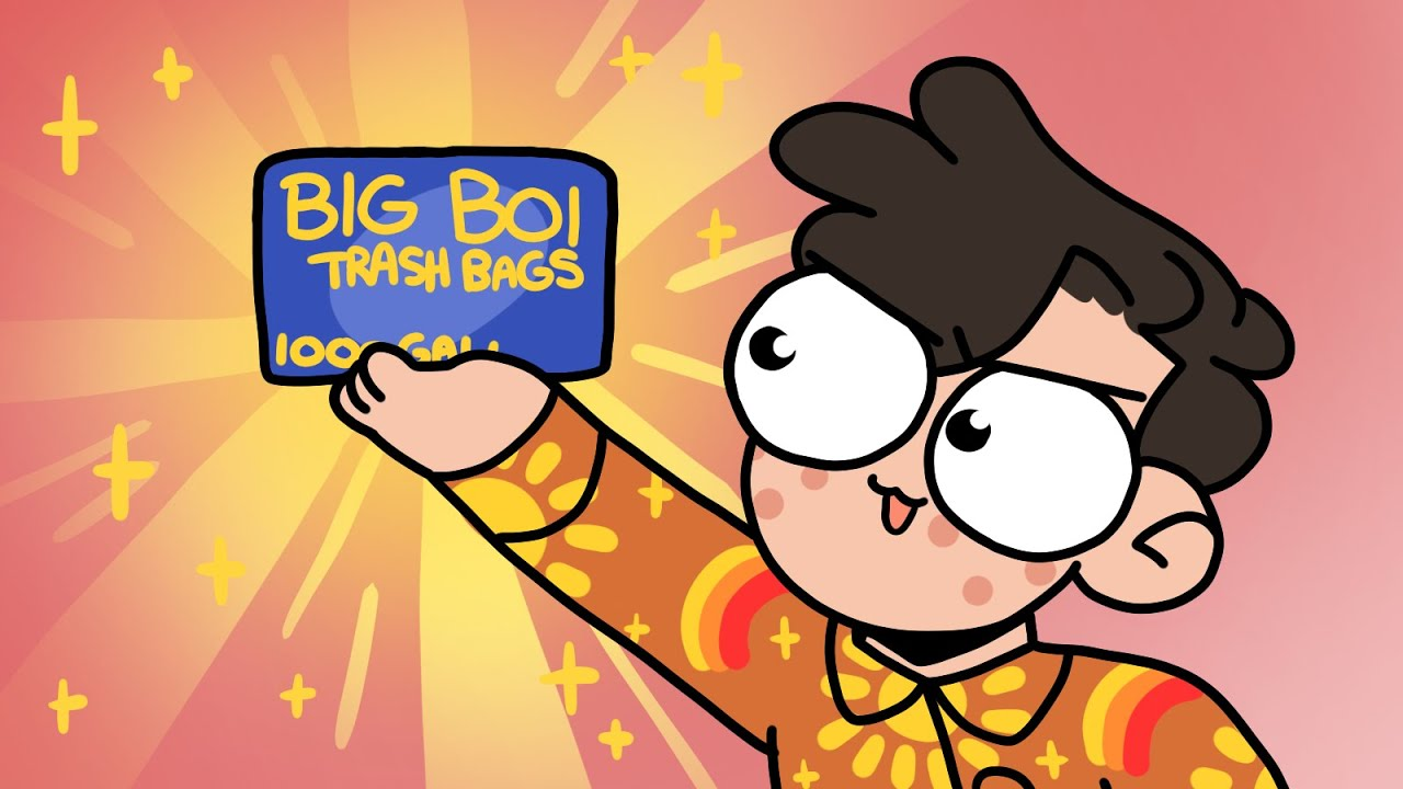 """An illustration of Justin wearing a collared orange shirt with suns and rainbows on it, holding up a box that reads """"Big Boi Trash Bags 100 Gal"""". rays of light and sparkles surround the box."""