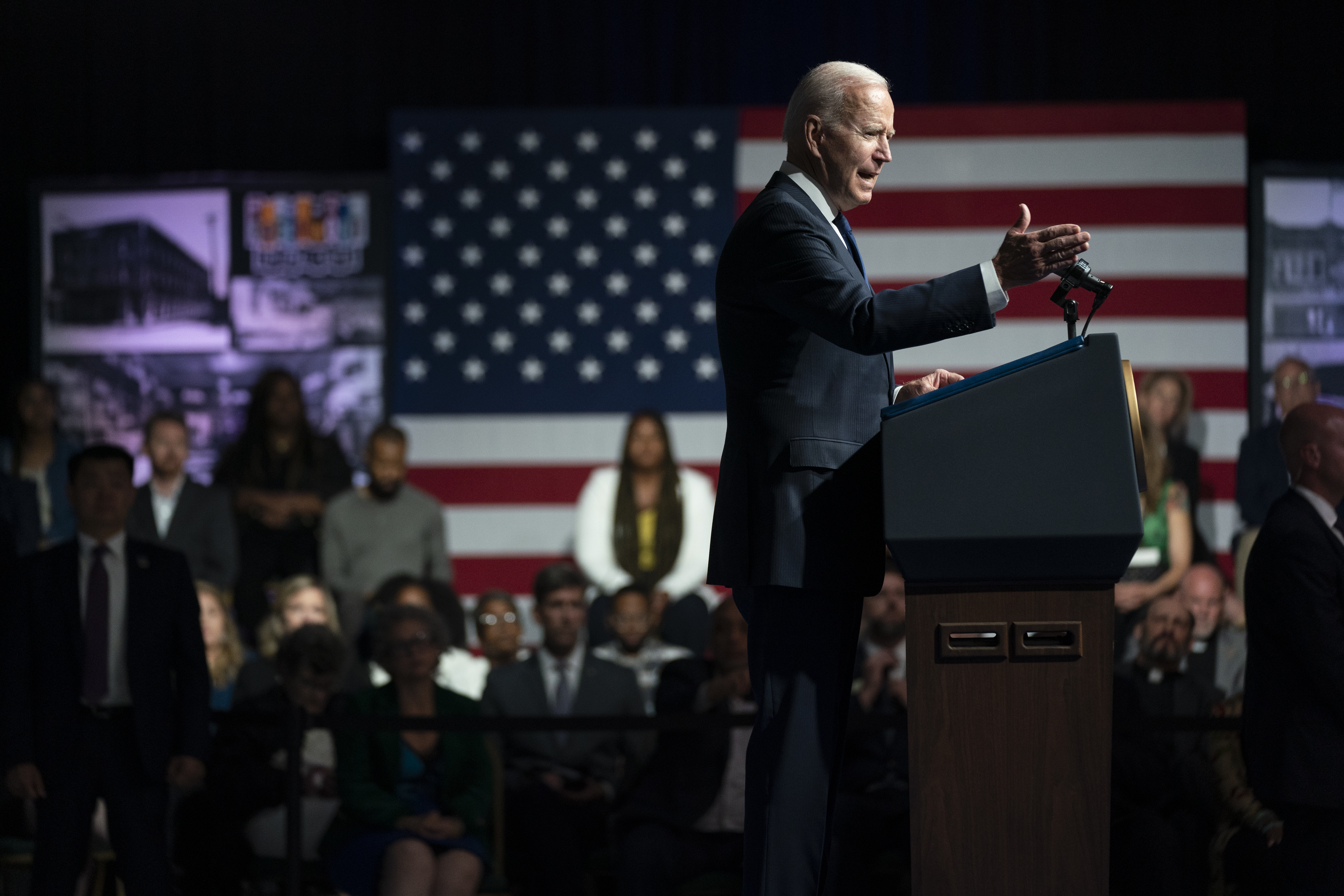 President Joe Biden speaks as he commemorates the 100th anniversary of the Tulsa race massacre, at the Greenwood Cultural Center, Tuesday, June 1, 2021, in Tulsa, Okla.