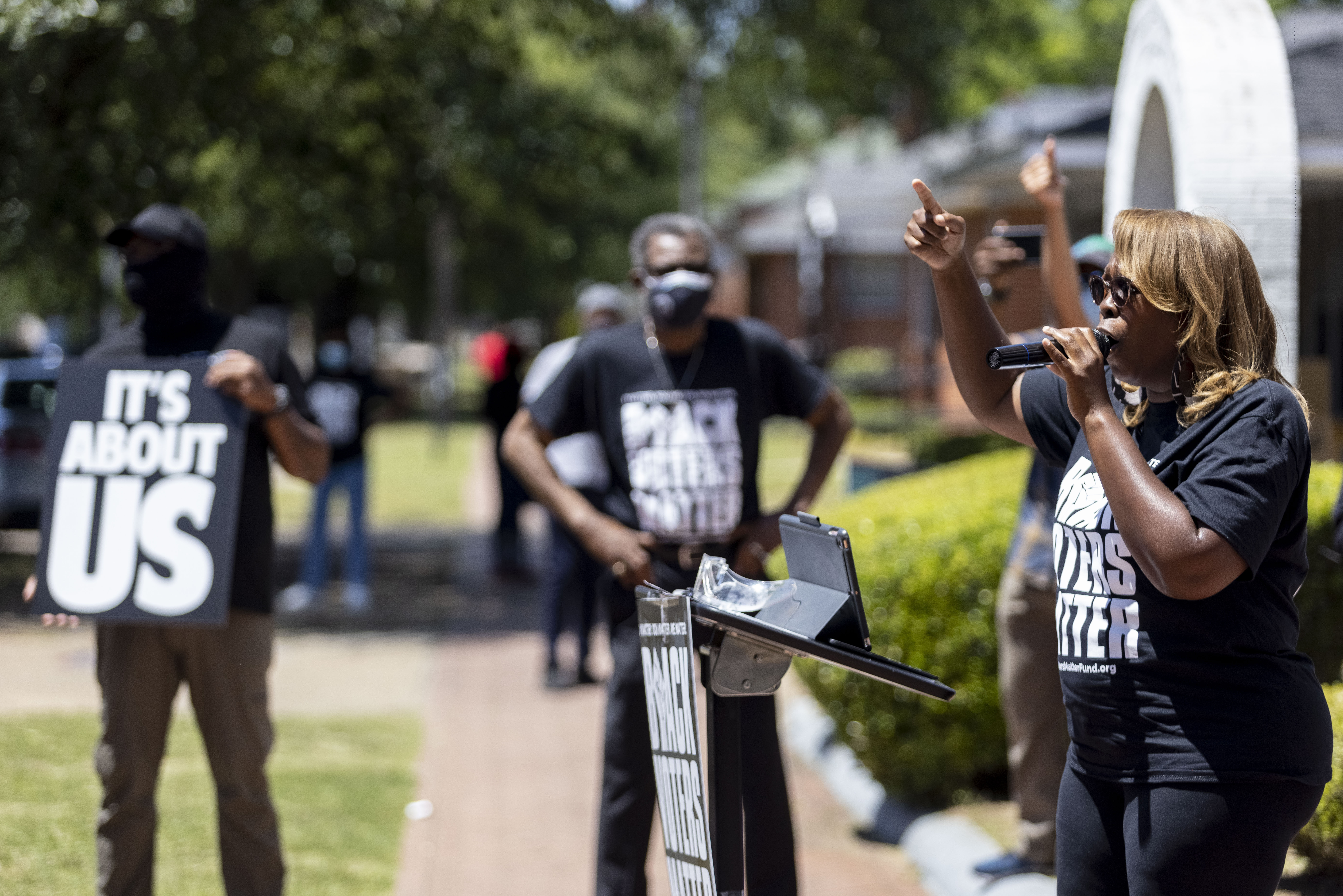 LaTosha Brown, co-founder of Black Voters Matter, speaks on voting rights at the John Lewis Advancement Act Day of Action, a voter education and engagement event, Saturday, May 8, 2021, in front of Brown Chapel A.M.E. Church in Selma, Ala.