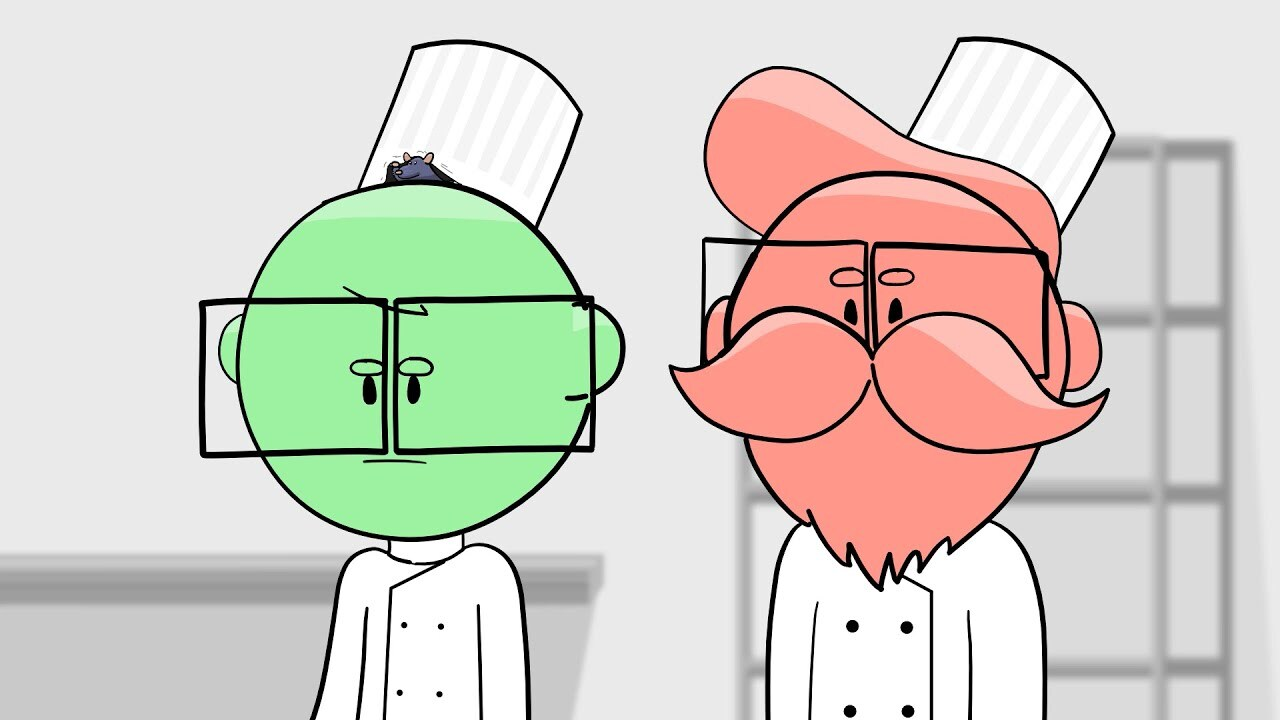 Illustrated image of Griffin and Travis wearing chef coats and hats. Griffin is green and Travis is red. There is a rat peeking out from under Griffin's hat. Behind them is a cooling rack and a counter.