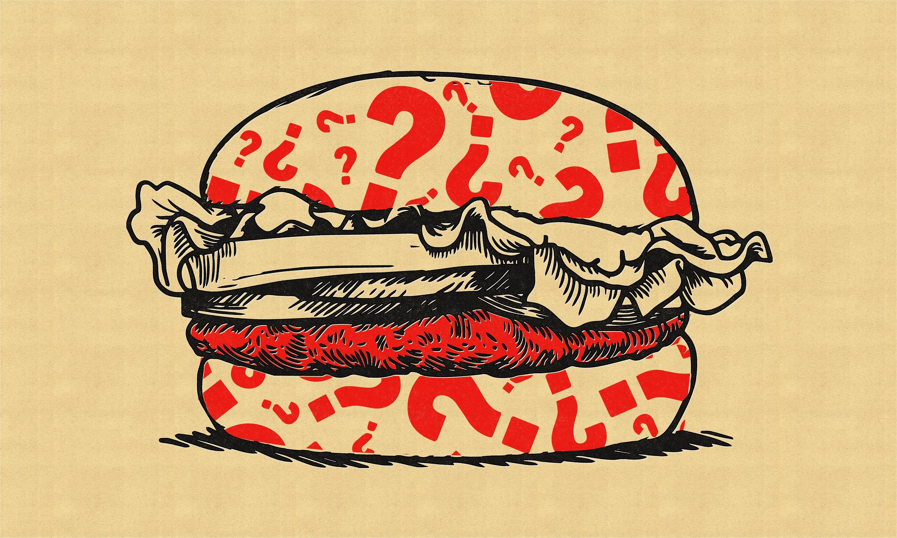 Illustration of a burger with question marks.