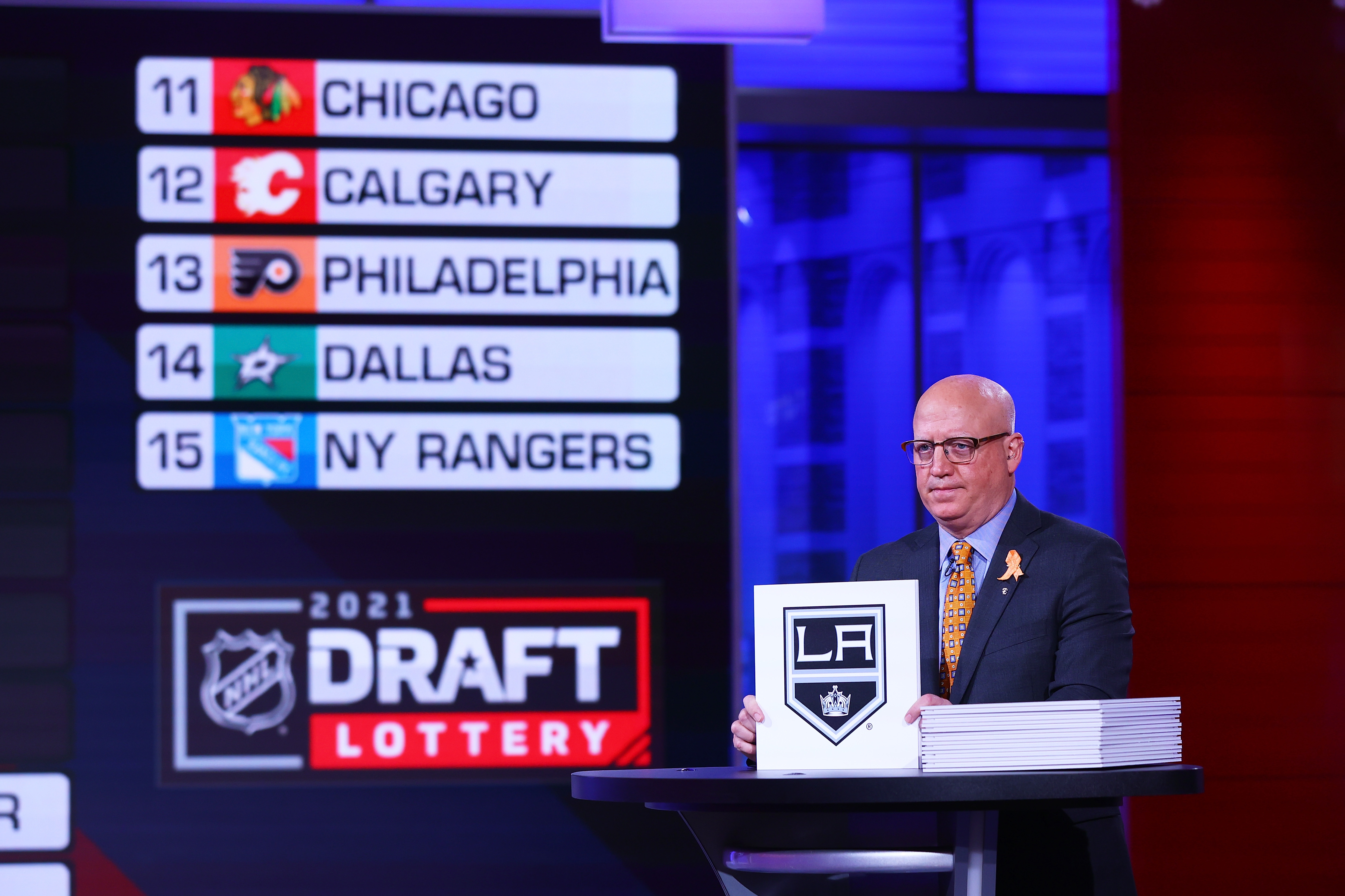 National Hockey League Deputy Commissioner Bill Daly announces an Los Angeles Kings draft position during the 2021 NHL Draft Lottery on June 02, 2021 at the NHL Network's studio in Secaucus, New Jersey.
